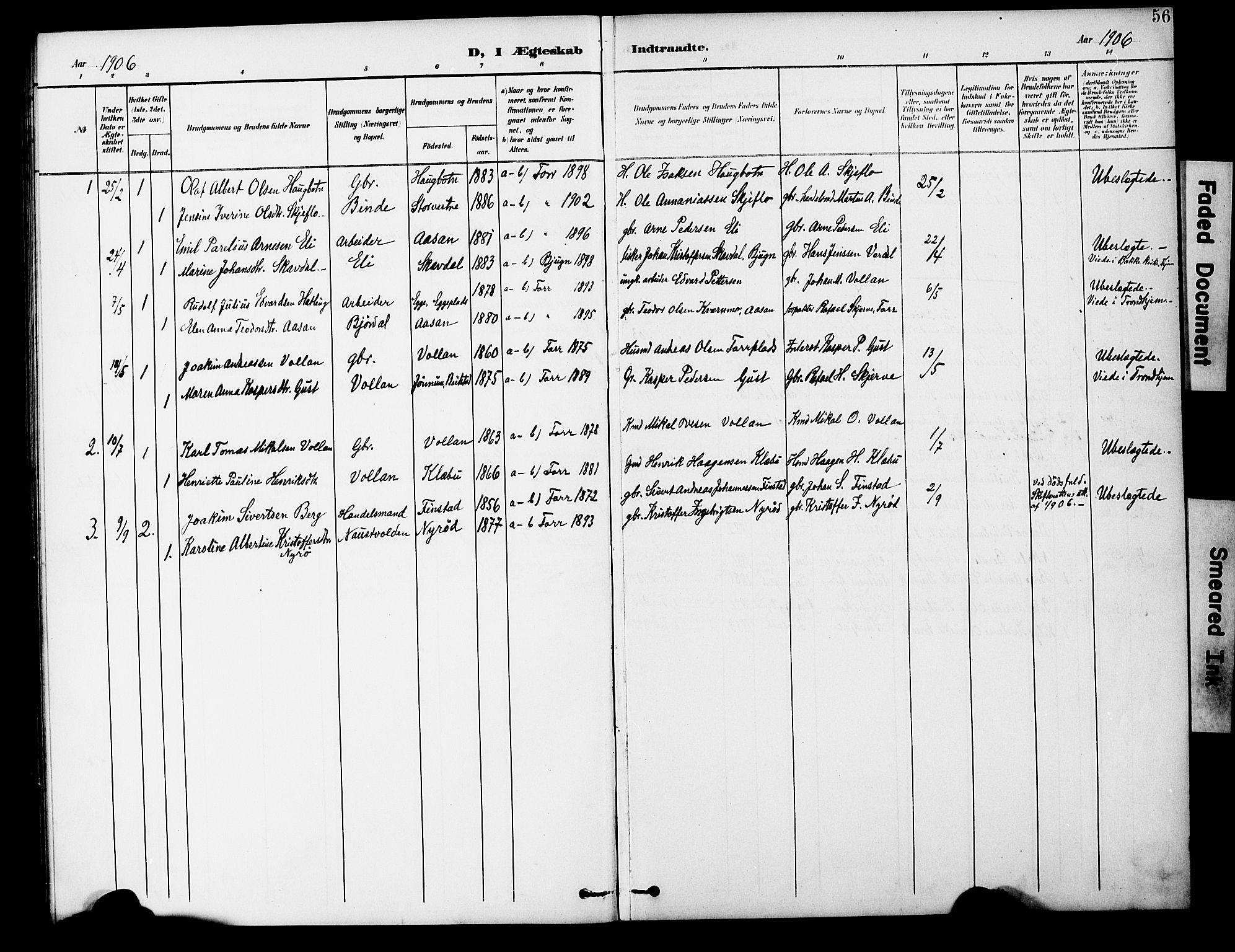 SAT, Ministerialprotokoller, klokkerbøker og fødselsregistre - Nord-Trøndelag, 746/L0452: Ministerialbok nr. 746A09, 1900-1908, s. 56