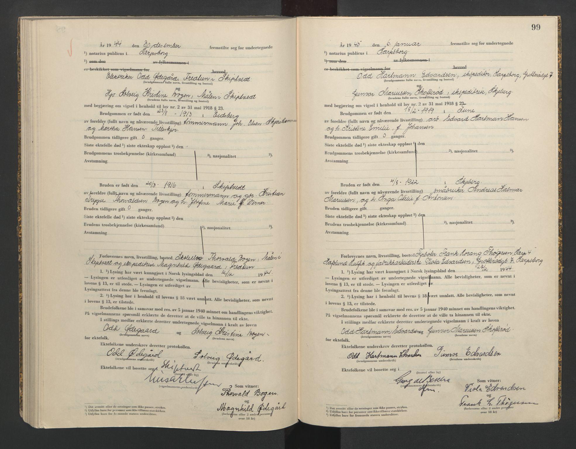 SAO, Sarpsborg byfogd, L/Lb/Lba/L0003: Vigselbok, 1943-1945, s. 99