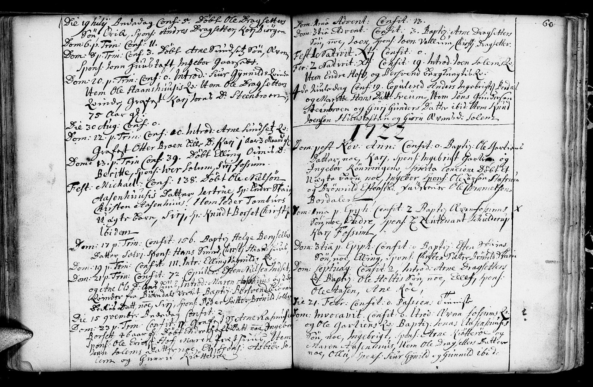 SAT, Ministerialprotokoller, klokkerbøker og fødselsregistre - Sør-Trøndelag, 689/L1036: Ministerialbok nr. 689A01, 1696-1746, s. 60