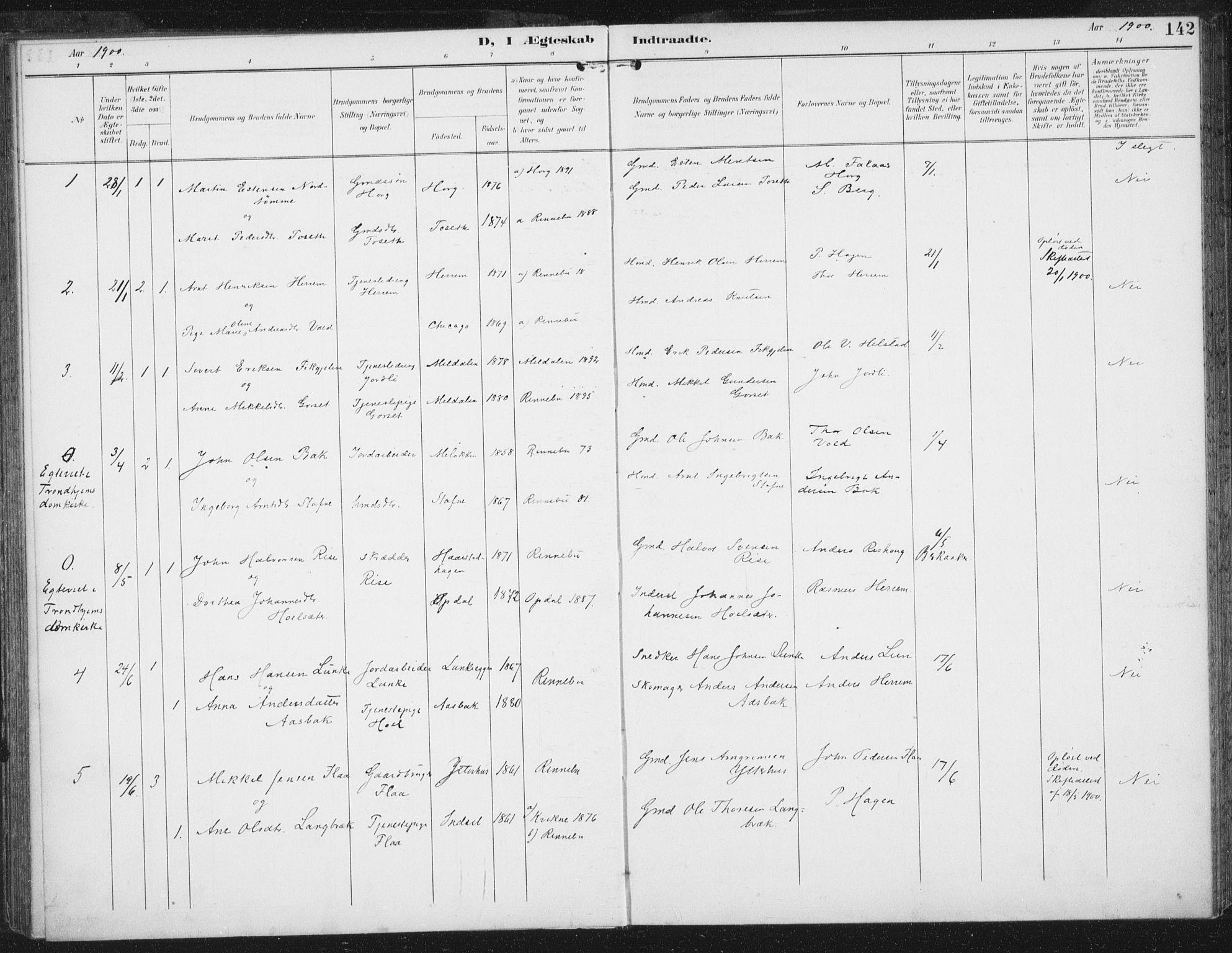 SAT, Ministerialprotokoller, klokkerbøker og fødselsregistre - Sør-Trøndelag, 674/L0872: Ministerialbok nr. 674A04, 1897-1907, s. 142