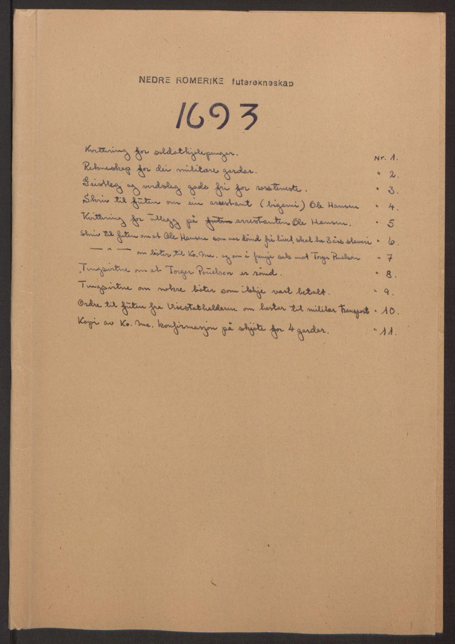 RA, Rentekammeret inntil 1814, Reviderte regnskaper, Fogderegnskap, R11/L0578: Fogderegnskap Nedre Romerike, 1693, s. 205