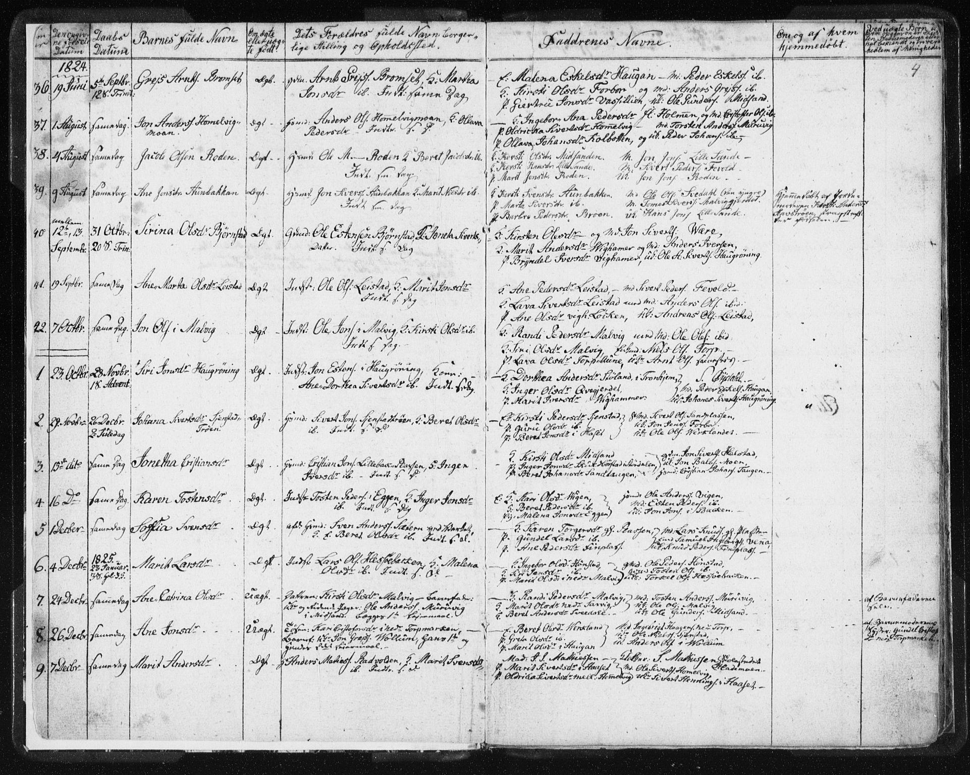 SAT, Ministerialprotokoller, klokkerbøker og fødselsregistre - Sør-Trøndelag, 616/L0404: Ministerialbok nr. 616A01, 1823-1831, s. 4
