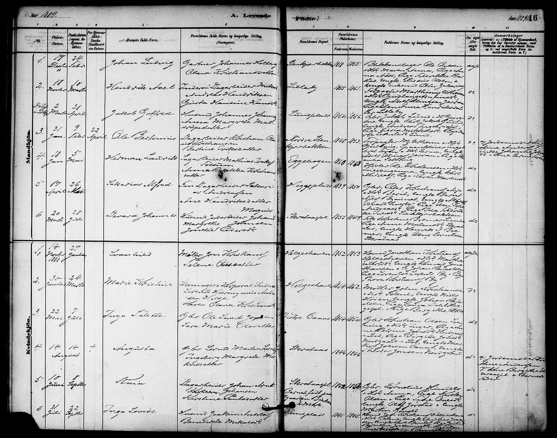 SAT, Ministerialprotokoller, klokkerbøker og fødselsregistre - Nord-Trøndelag, 740/L0378: Ministerialbok nr. 740A01, 1881-1895, s. 16