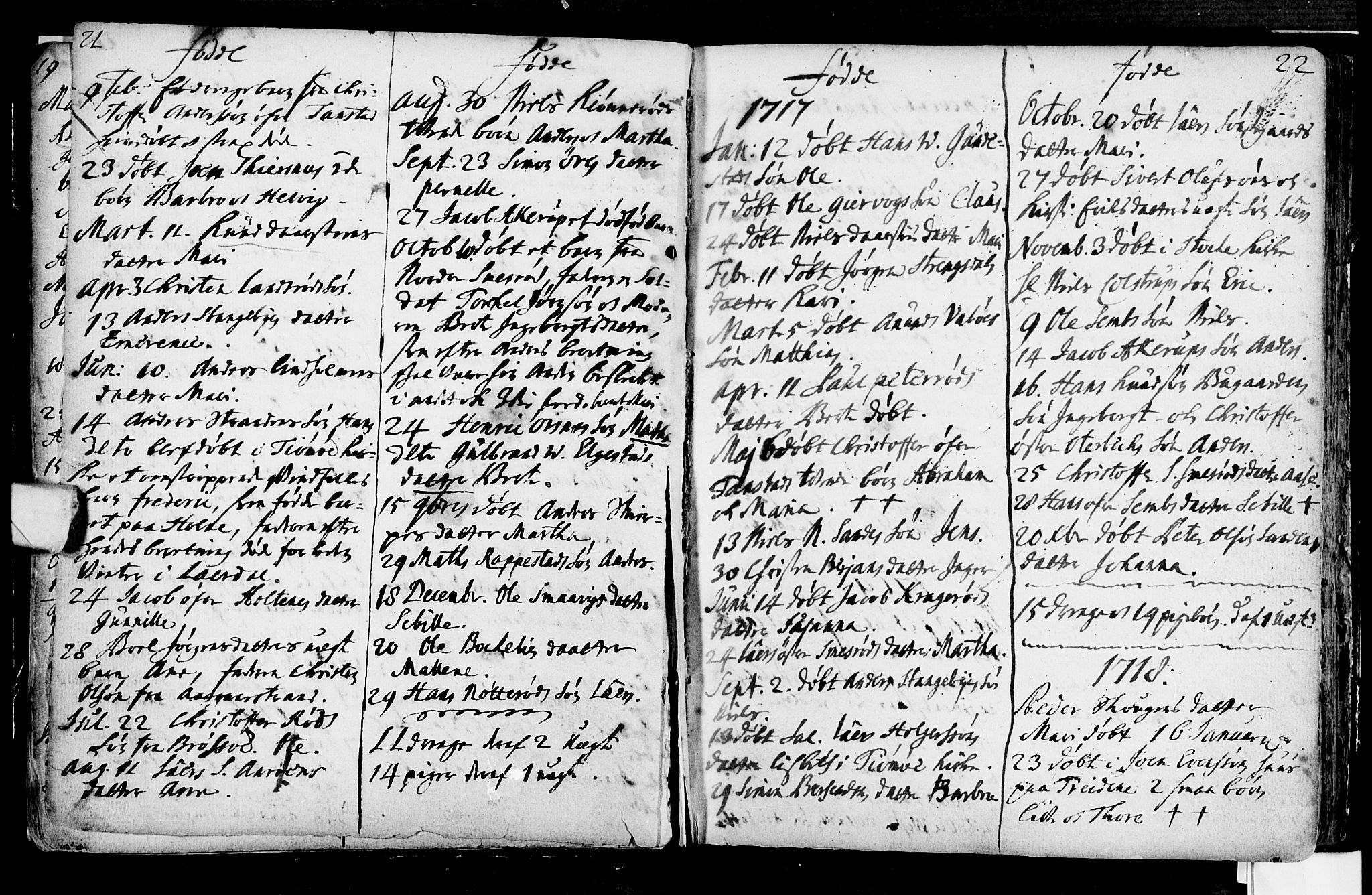 SAKO, Nøtterøy kirkebøker, F/Fa/L0001: Ministerialbok nr. I 1, 1686-1738, s. 21-22