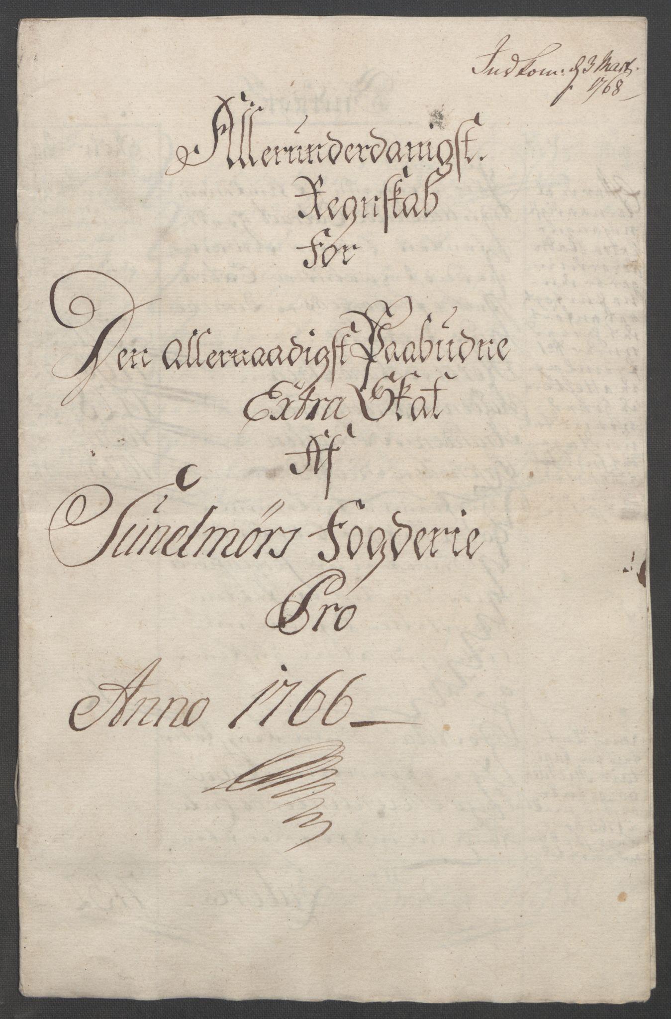 RA, Rentekammeret inntil 1814, Reviderte regnskaper, Fogderegnskap, R54/L3645: Ekstraskatten Sunnmøre, 1762-1772, s. 78