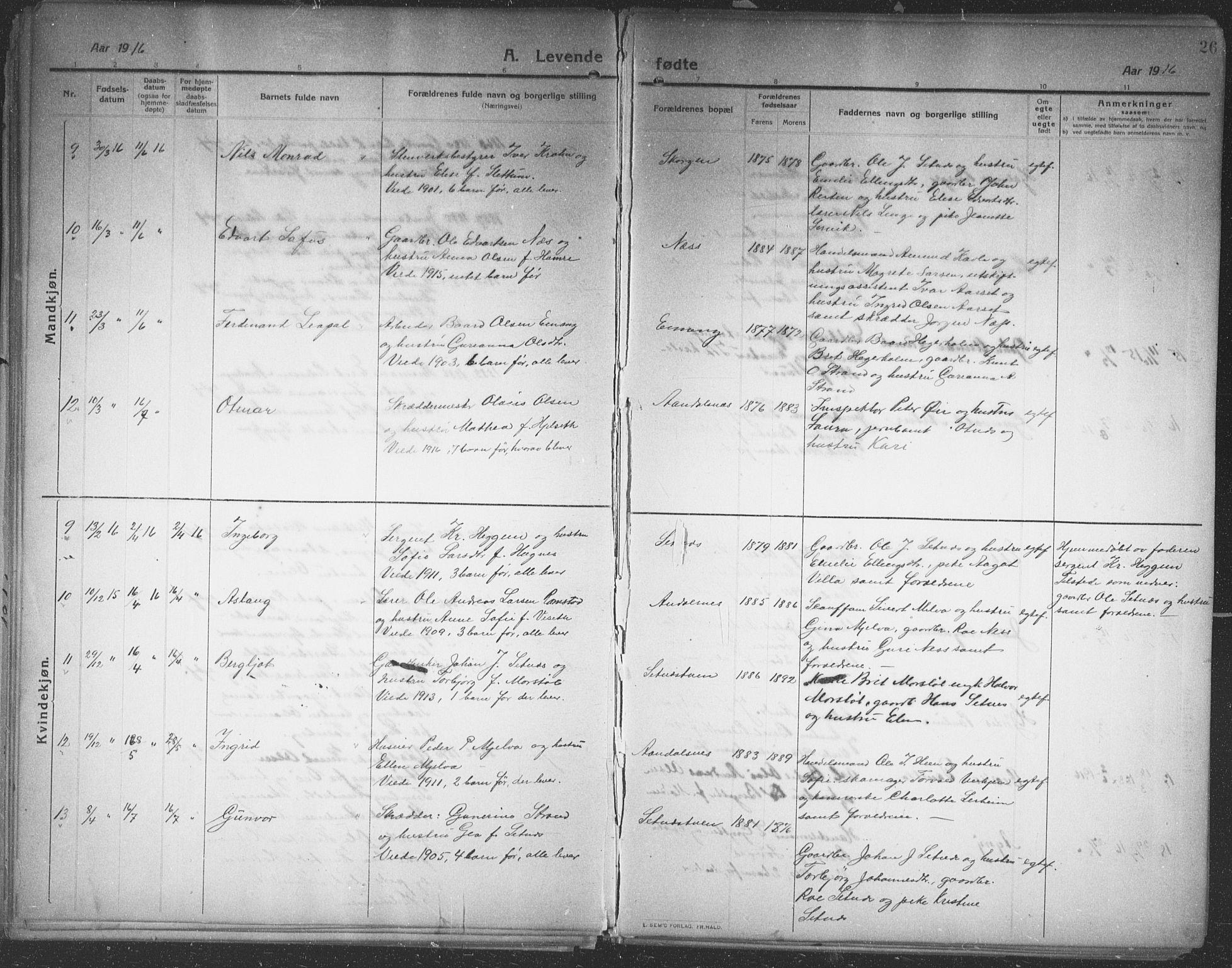 SAT, Ministerialprotokoller, klokkerbøker og fødselsregistre - Møre og Romsdal, 544/L0581: Klokkerbok nr. 544C03, 1910-1937, s. 26