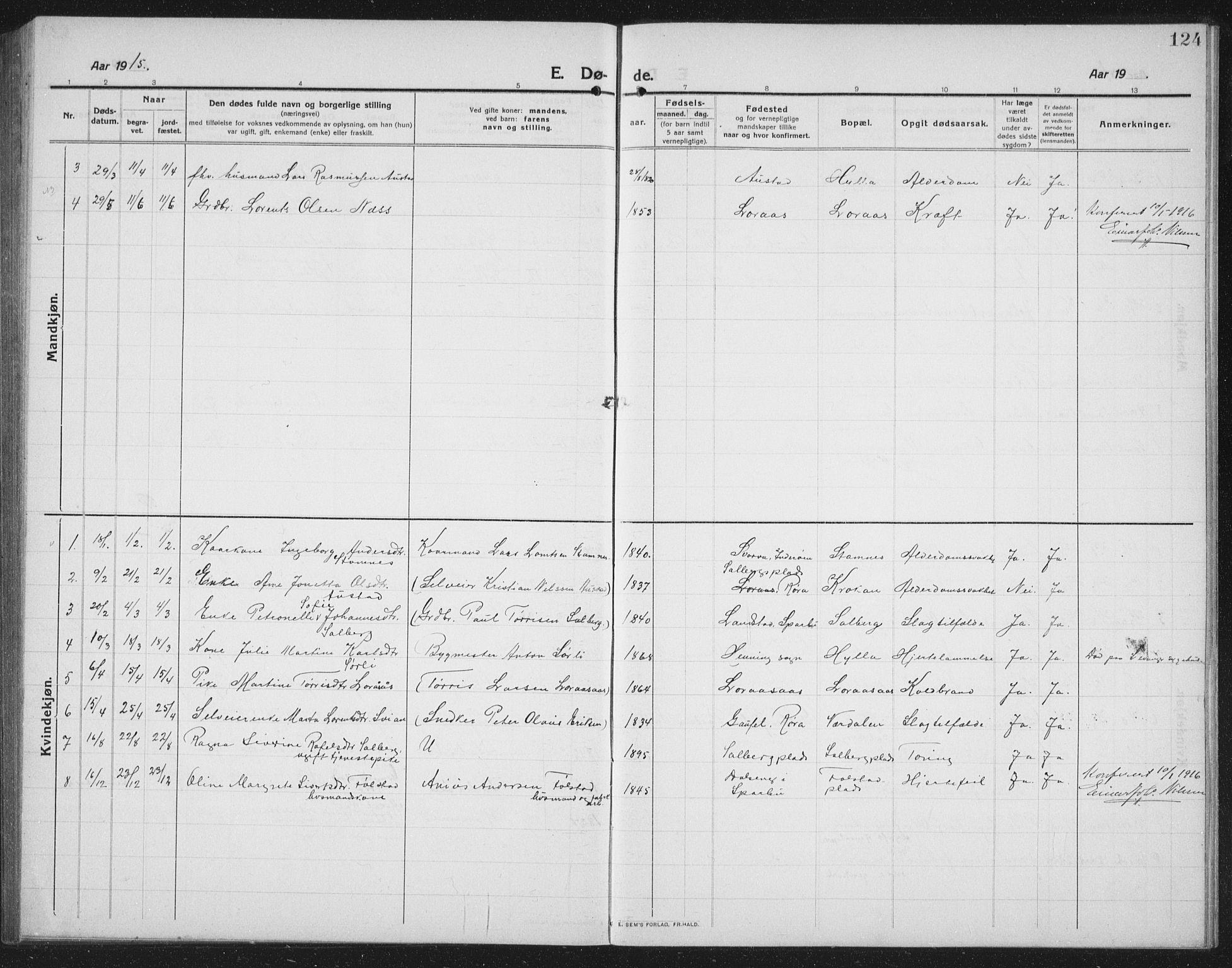 SAT, Ministerialprotokoller, klokkerbøker og fødselsregistre - Nord-Trøndelag, 731/L0312: Klokkerbok nr. 731C03, 1911-1935, s. 124