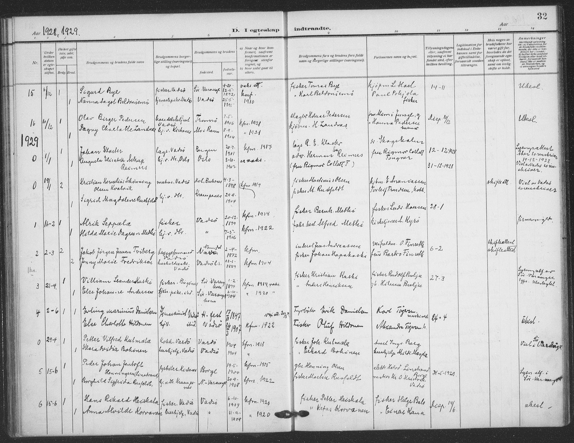 SATØ, Vadsø sokneprestkontor, H/Ha/L0008kirke: Ministerialbok nr. 8, 1912-1930, s. 32