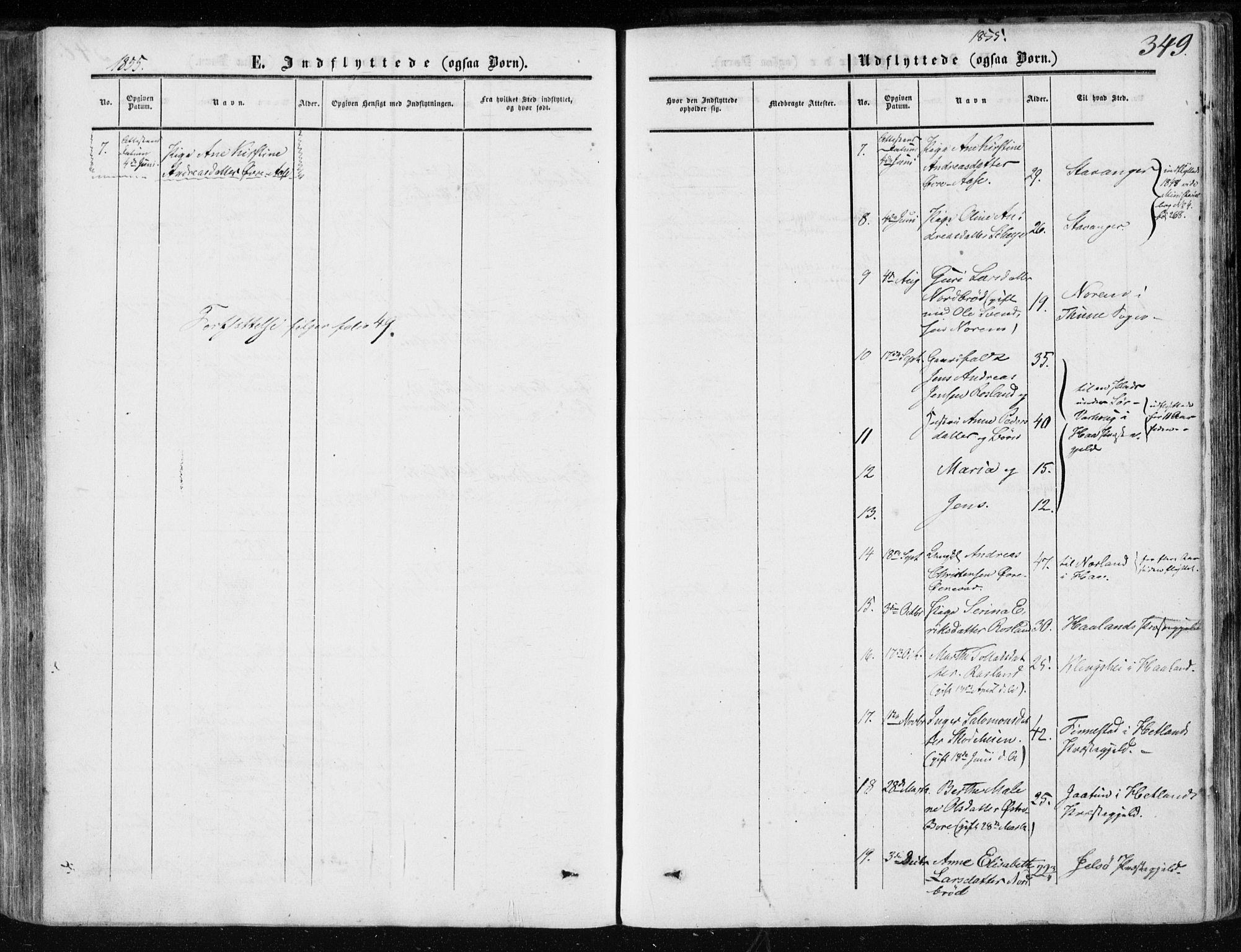 SAST, Klepp sokneprestkontor, 3/30BA/L0005: Ministerialbok nr. A 5, 1853-1870, s. 349