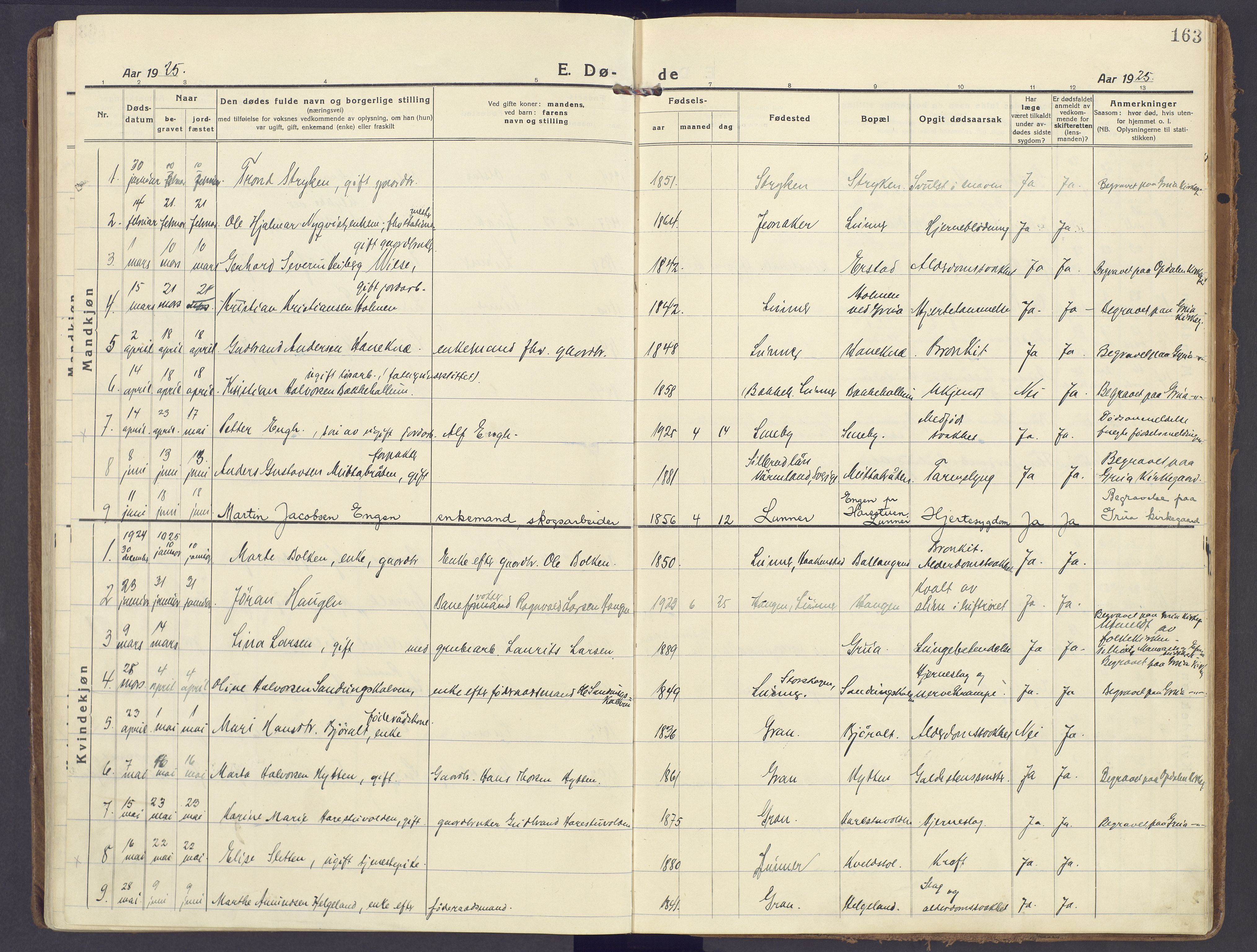 SAH, Lunner prestekontor, H/Ha/Haa/L0002: Ministerialbok nr. 2, 1922-1931, s. 163