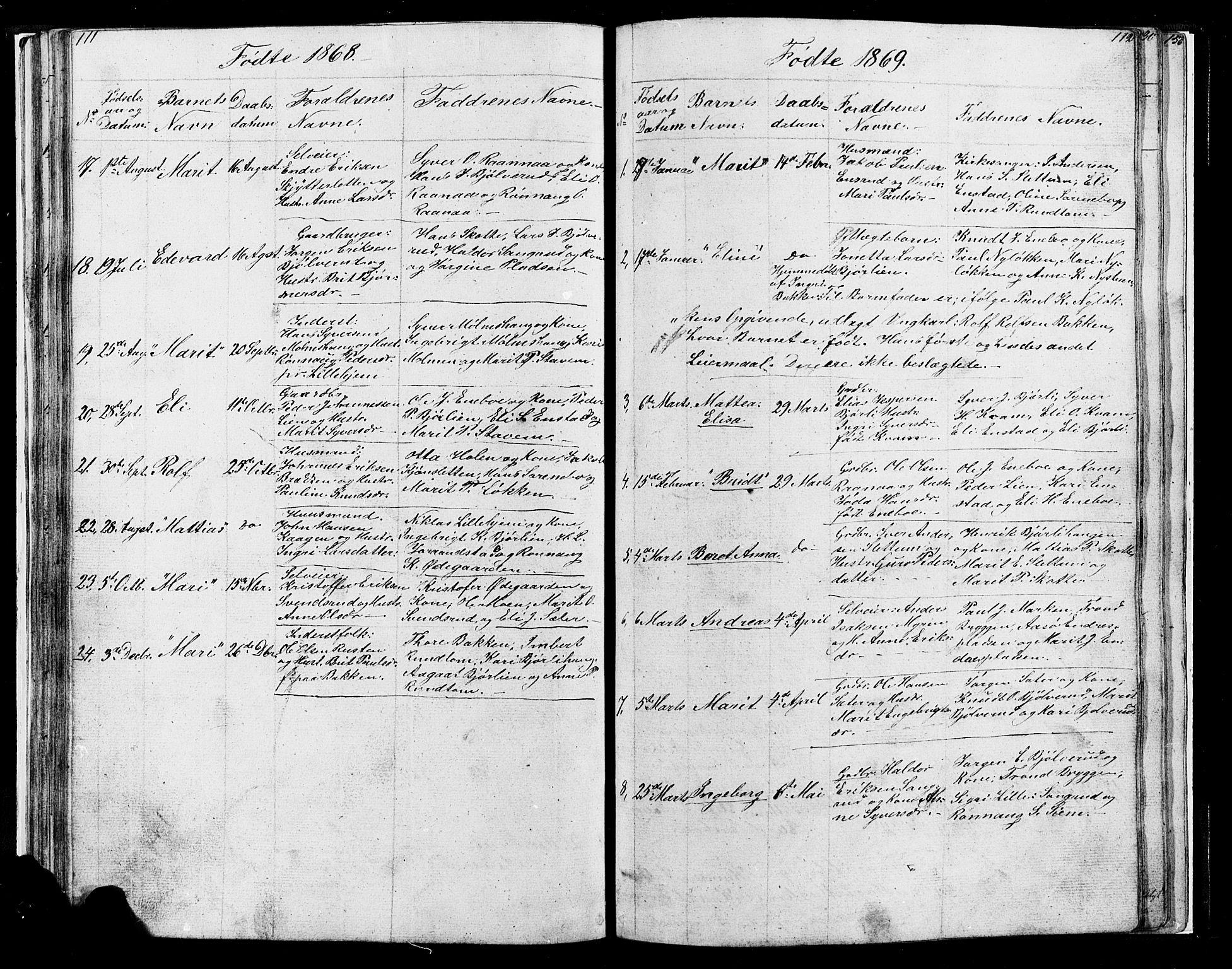 SAH, Lesja prestekontor, Klokkerbok nr. 4, 1842-1871, s. 111-112
