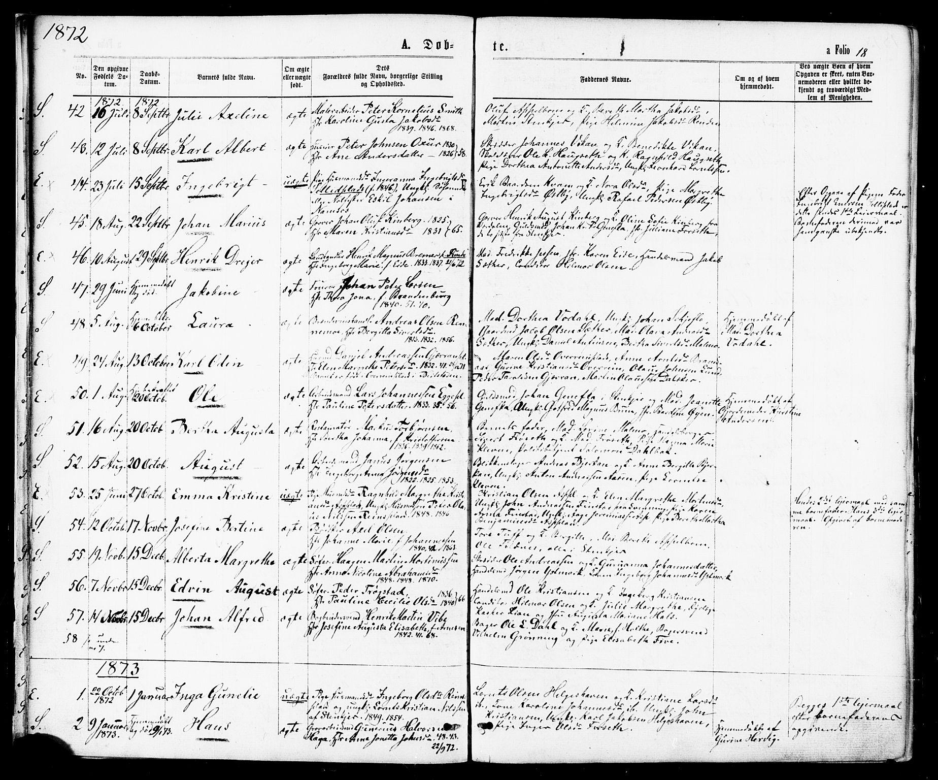 SAT, Ministerialprotokoller, klokkerbøker og fødselsregistre - Nord-Trøndelag, 739/L0370: Ministerialbok nr. 739A02, 1868-1881, s. 18