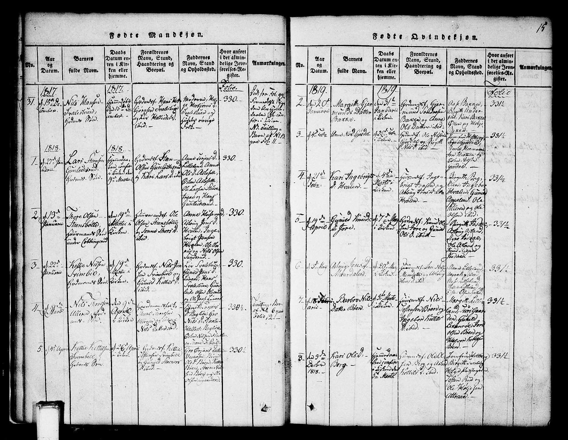 SAKO, Tinn kirkebøker, G/Ga/L0001: Klokkerbok nr. I 1, 1815-1850, s. 15
