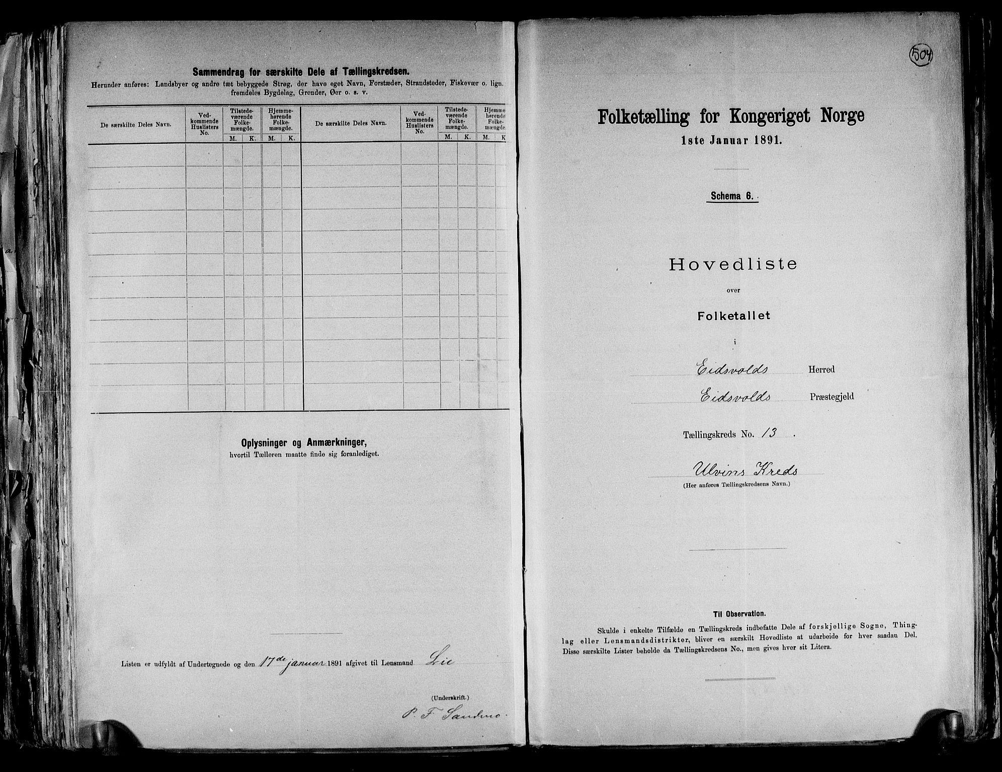 RA, Folketelling 1891 for 0237 Eidsvoll herred, 1891, s. 41
