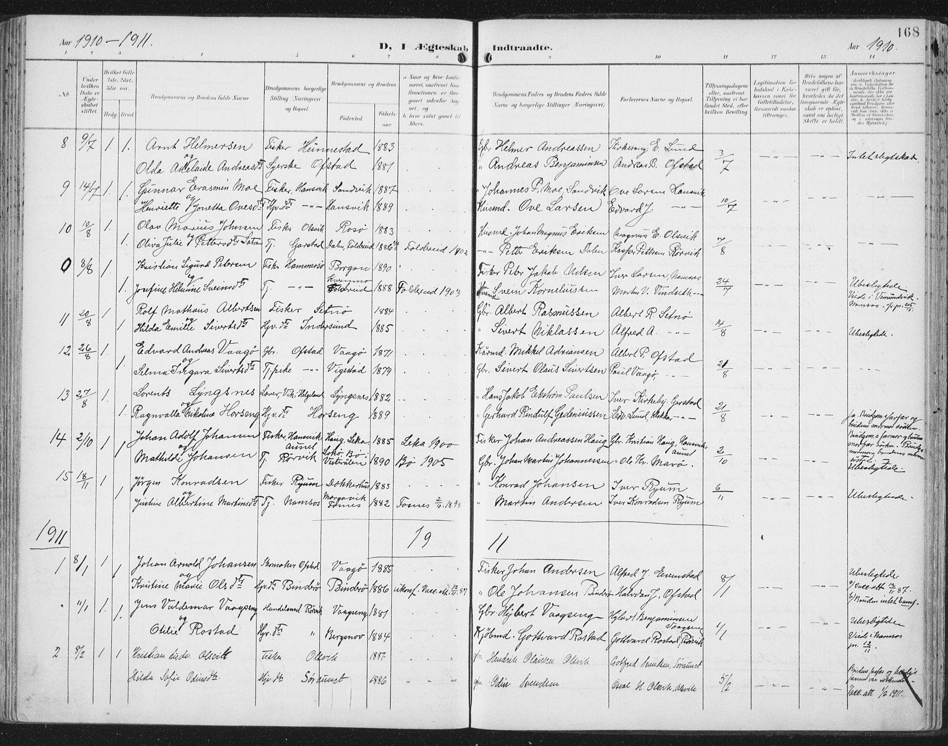 SAT, Ministerialprotokoller, klokkerbøker og fødselsregistre - Nord-Trøndelag, 786/L0688: Ministerialbok nr. 786A04, 1899-1912, s. 168