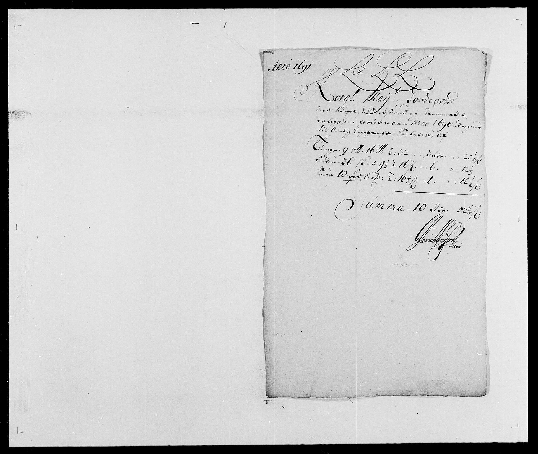 RA, Rentekammeret inntil 1814, Reviderte regnskaper, Fogderegnskap, R24/L1573: Fogderegnskap Numedal og Sandsvær, 1687-1691, s. 480
