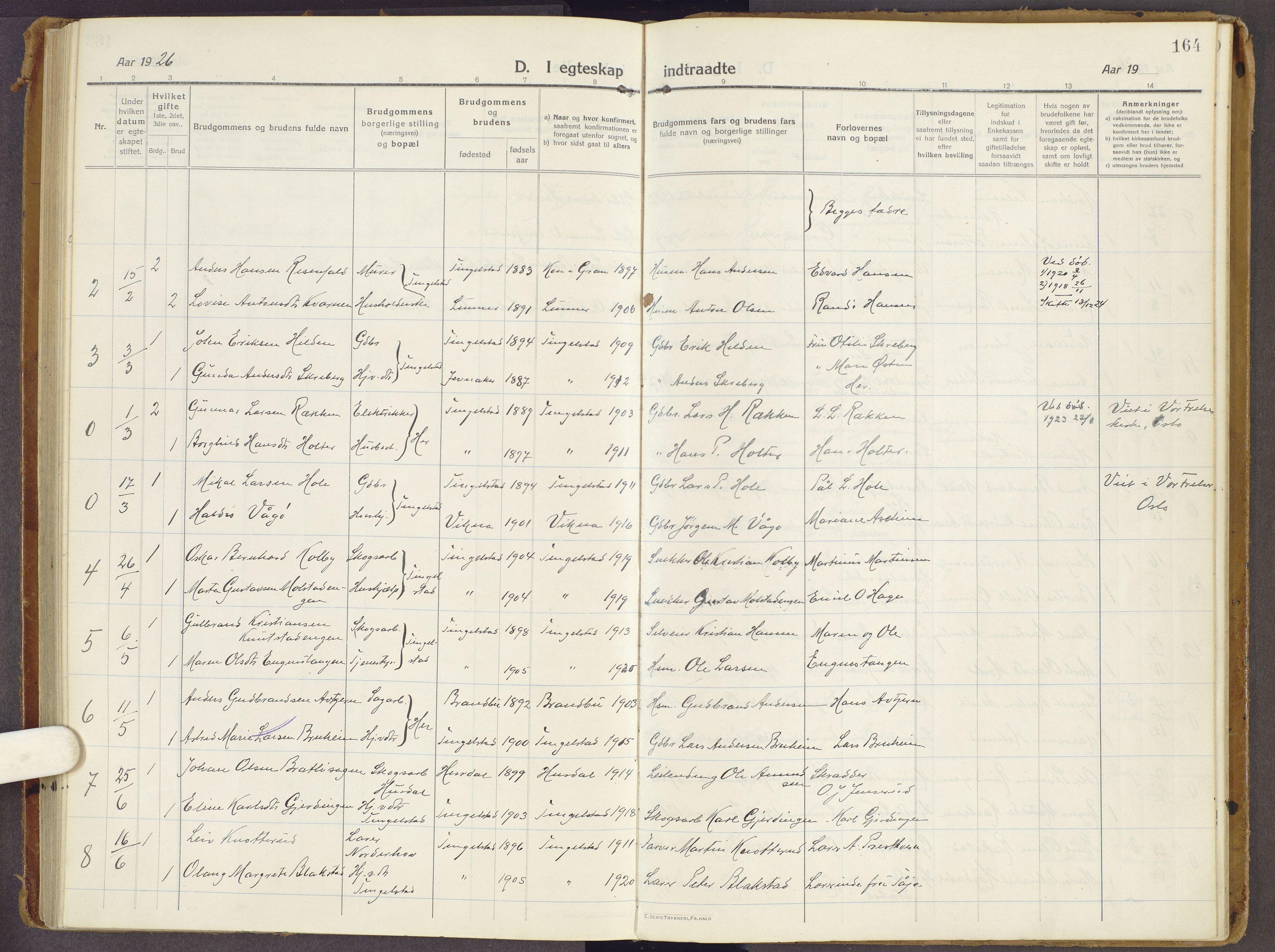 SAH, Brandbu prestekontor, Ministerialbok nr. 3, 1914-1928, s. 164