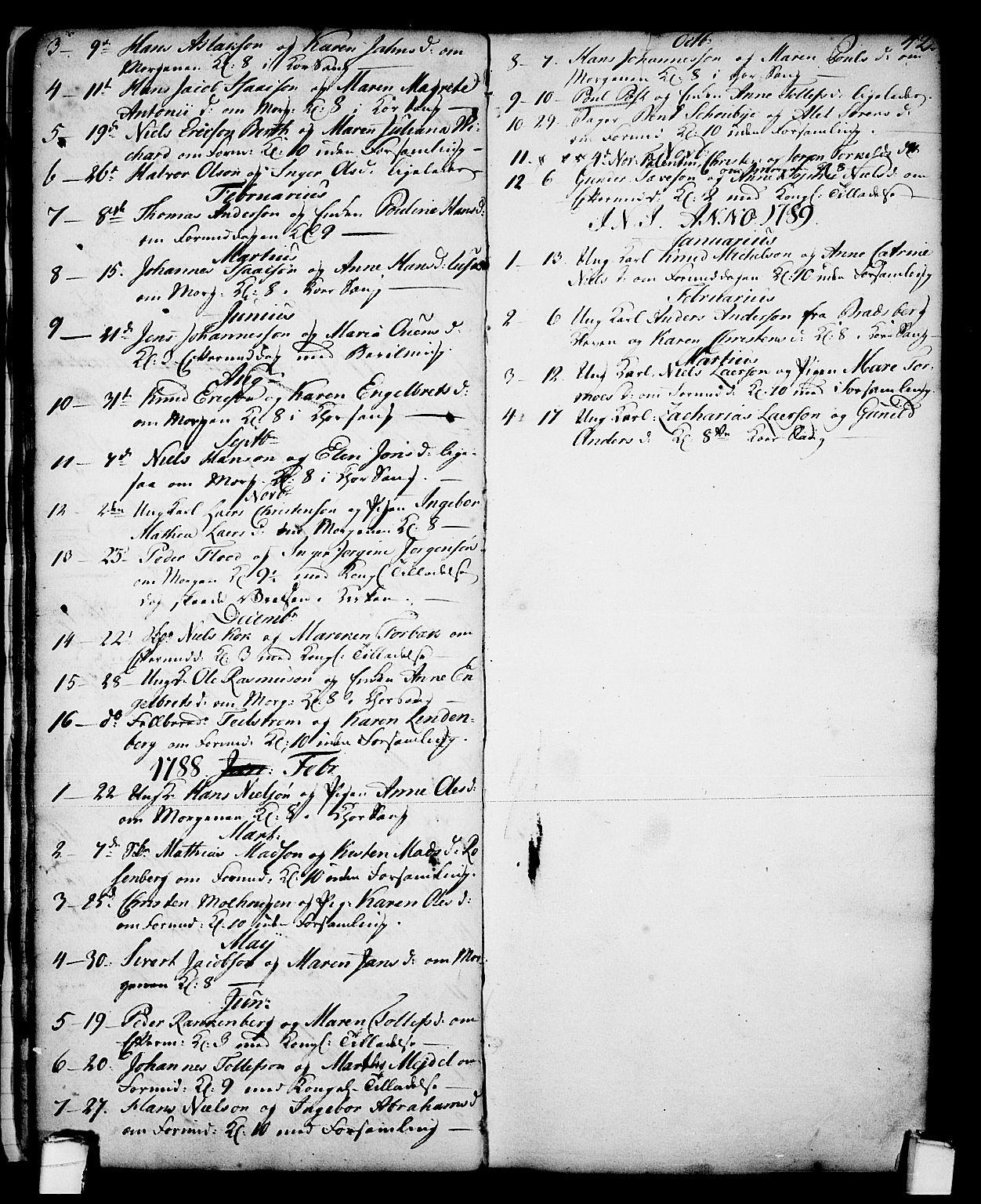 SAKO, Skien kirkebøker, G/Ga/L0001: Klokkerbok nr. 1, 1756-1791, s. 42