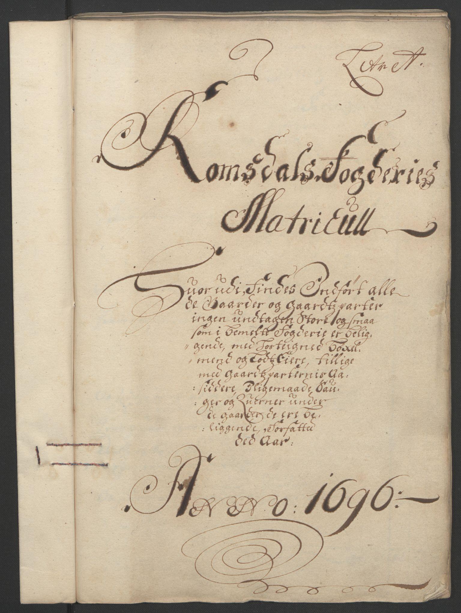 RA, Rentekammeret inntil 1814, Reviderte regnskaper, Fogderegnskap, R55/L3652: Fogderegnskap Romsdal, 1695-1696, s. 164