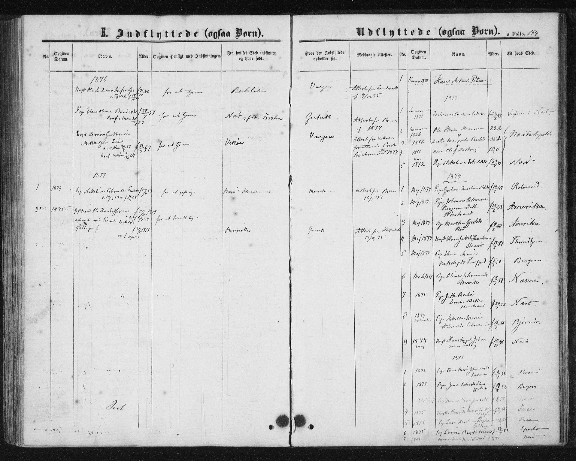 SAT, Ministerialprotokoller, klokkerbøker og fødselsregistre - Nord-Trøndelag, 788/L0696: Ministerialbok nr. 788A03, 1863-1877, s. 154