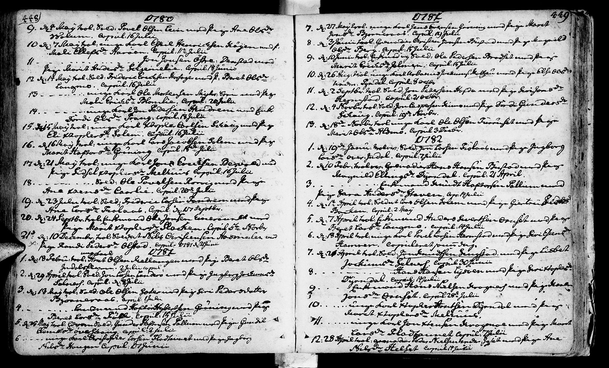 SAT, Ministerialprotokoller, klokkerbøker og fødselsregistre - Sør-Trøndelag, 646/L0605: Ministerialbok nr. 646A03, 1751-1790, s. 448-449