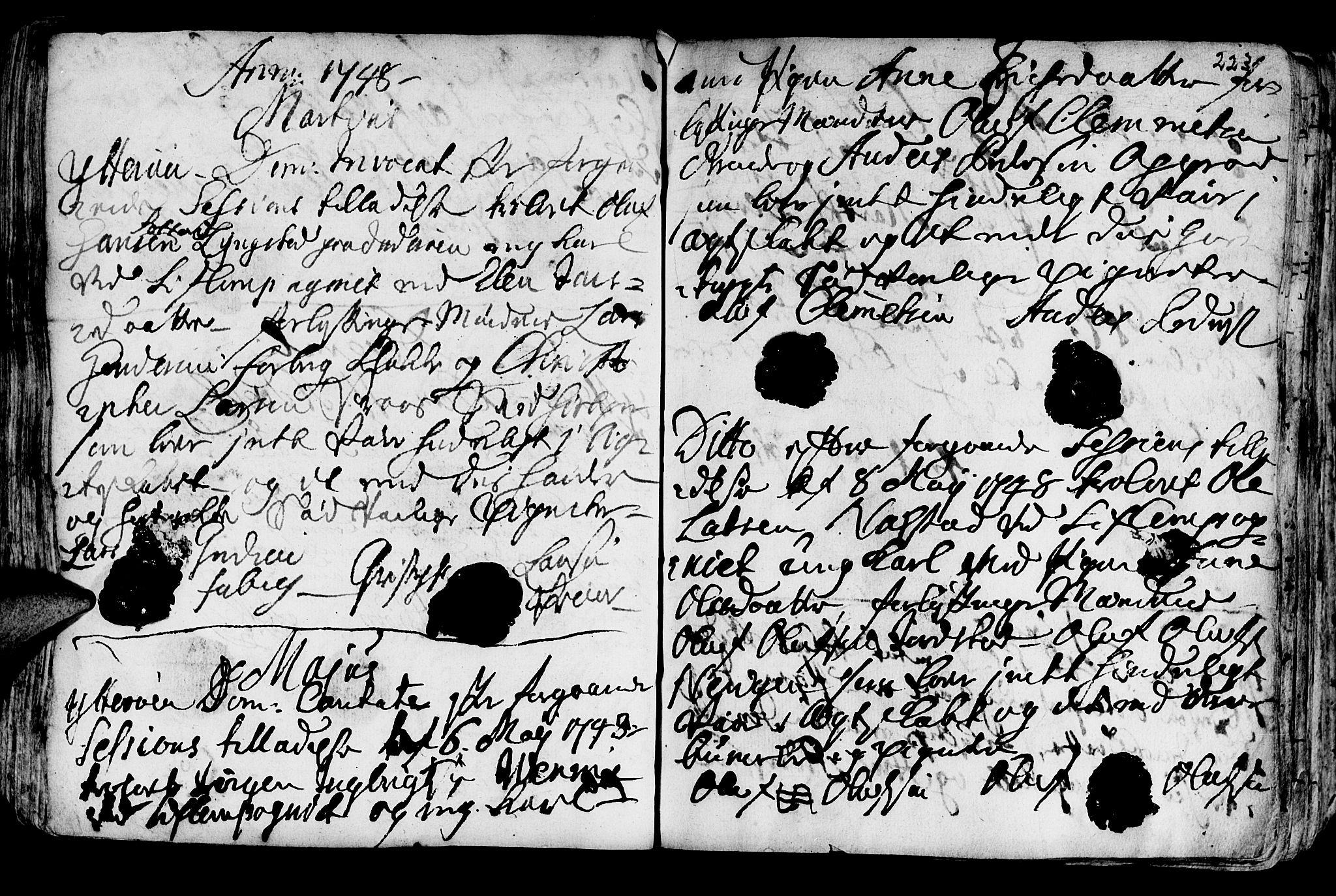 SAT, Ministerialprotokoller, klokkerbøker og fødselsregistre - Nord-Trøndelag, 722/L0215: Ministerialbok nr. 722A02, 1718-1755, s. 223