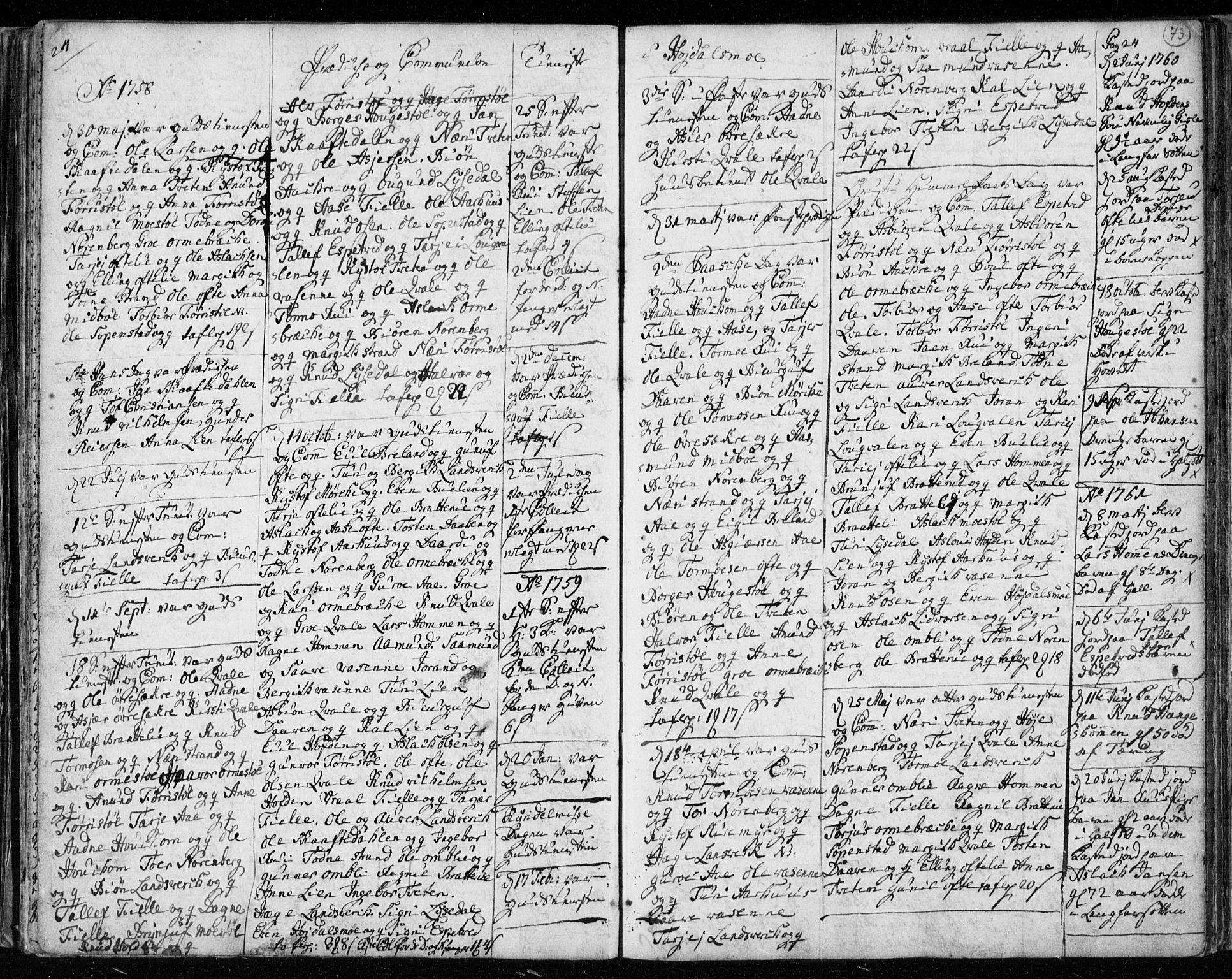 SAKO, Lårdal kirkebøker, F/Fa/L0003: Ministerialbok nr. I 3, 1754-1790, s. 73
