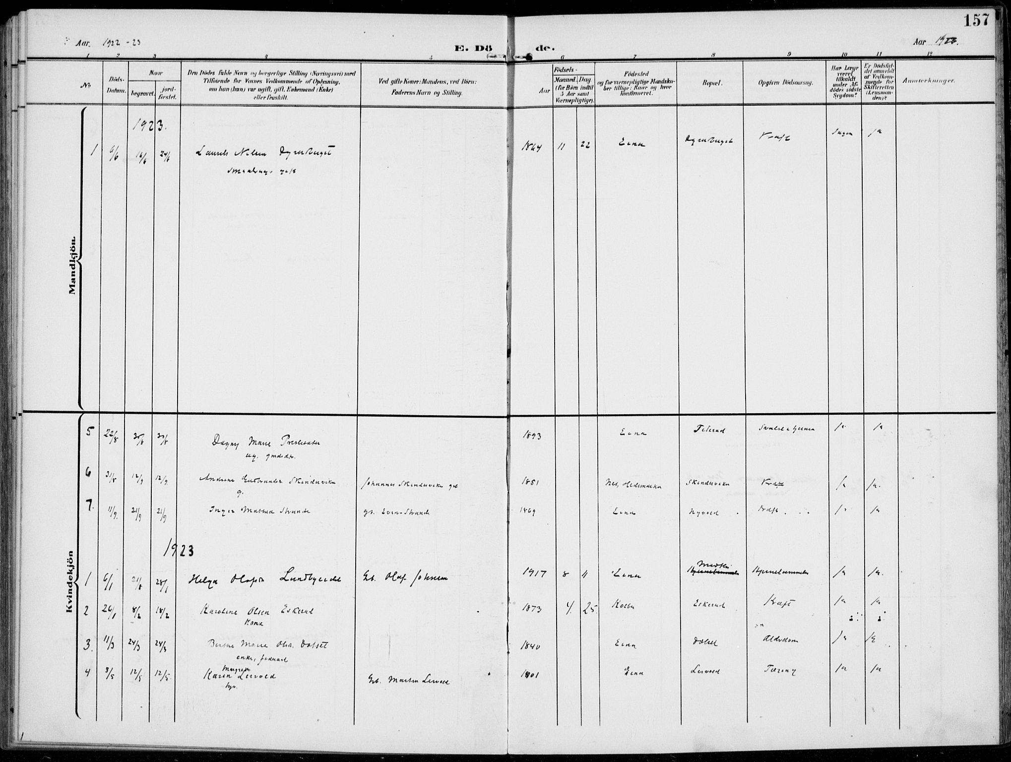 SAH, Kolbu prestekontor, Ministerialbok nr. 1, 1907-1923, s. 157