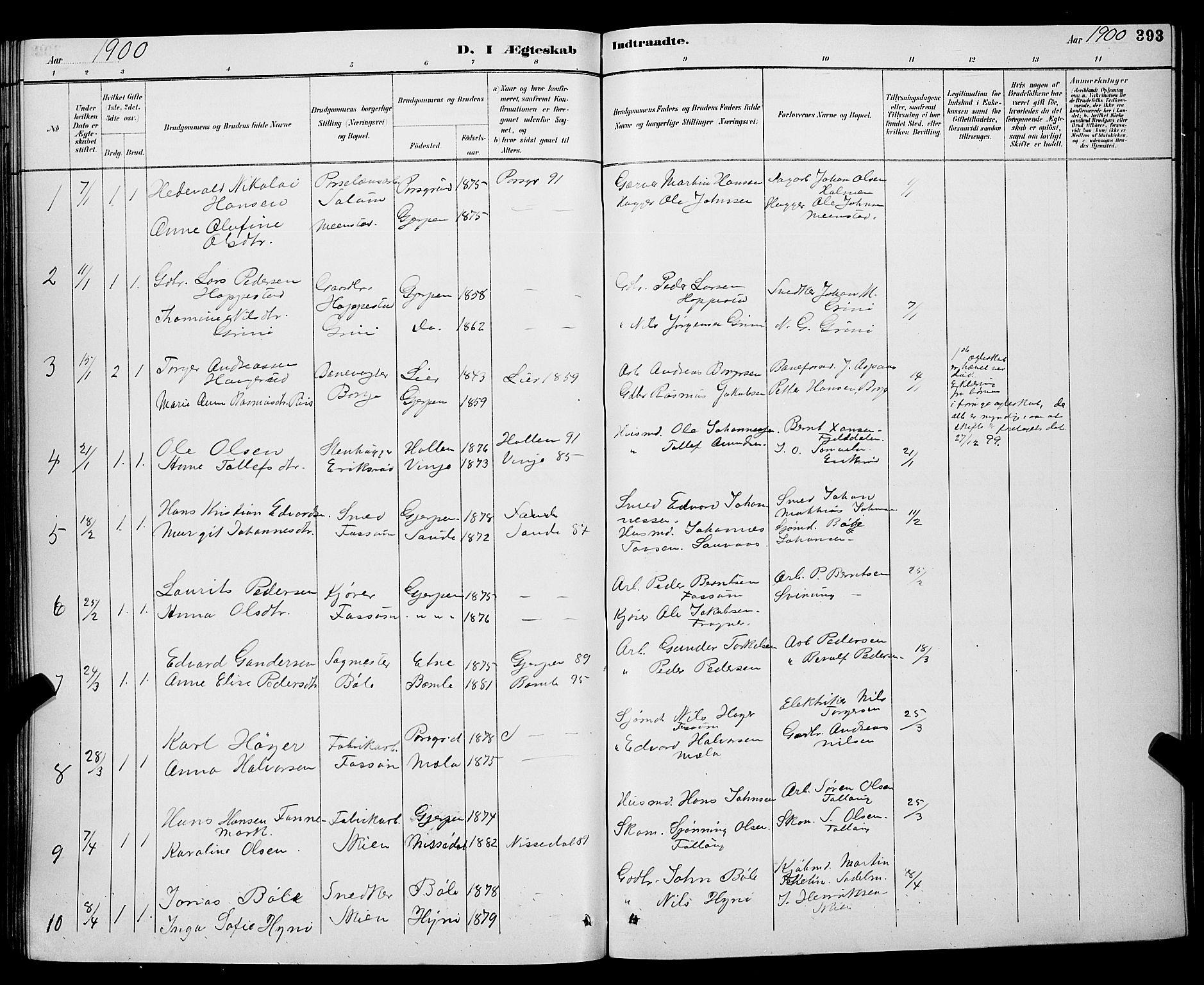 SAKO, Gjerpen kirkebøker, G/Ga/L0002: Klokkerbok nr. I 2, 1883-1900, s. 393