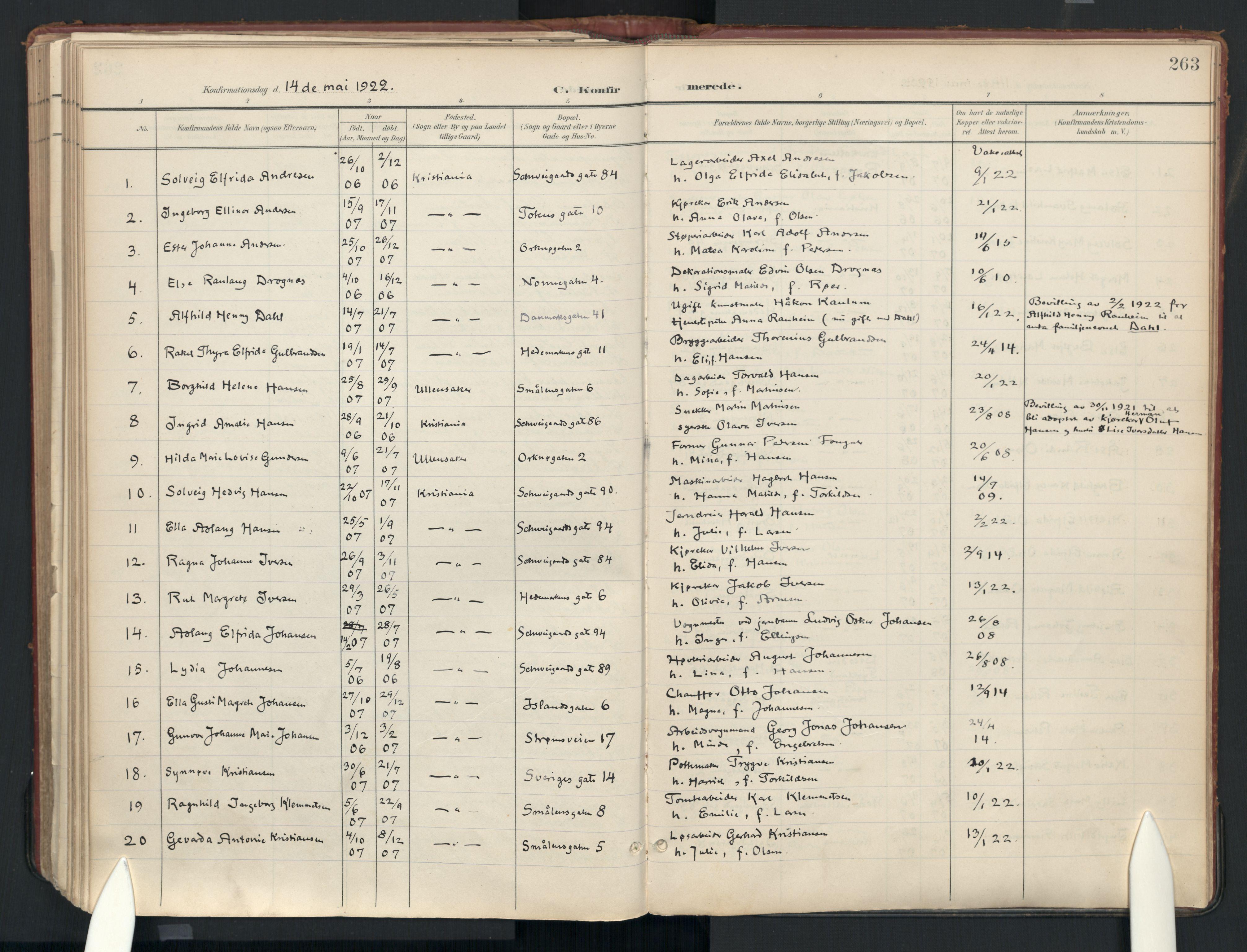 SAO, Vålerengen prestekontor Kirkebøker, Ministerialbok nr. 3a, 1900-1925, s. 263