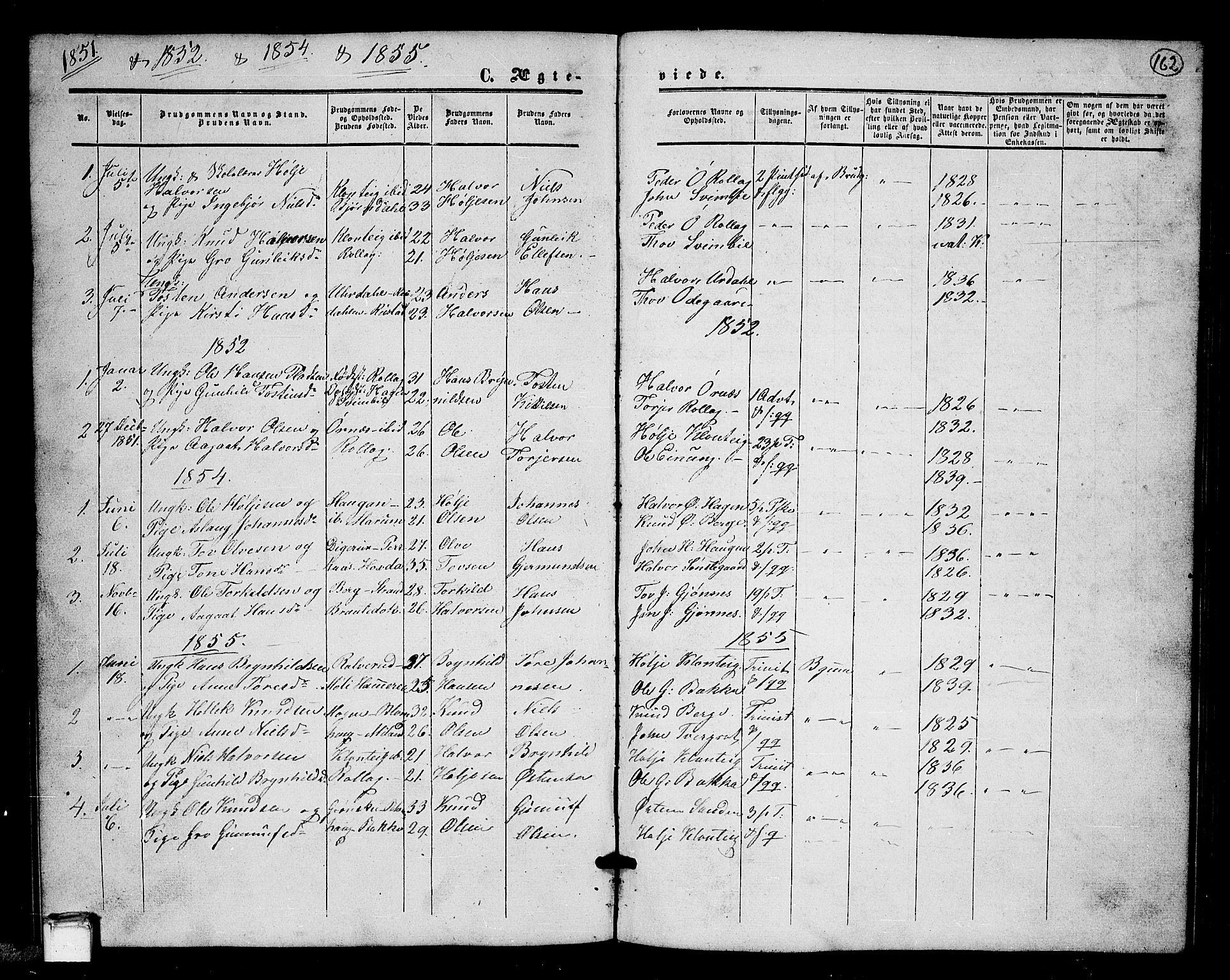 SAKO, Tinn kirkebøker, G/Gb/L0002: Klokkerbok nr. II 2, 1851-1886, s. 162