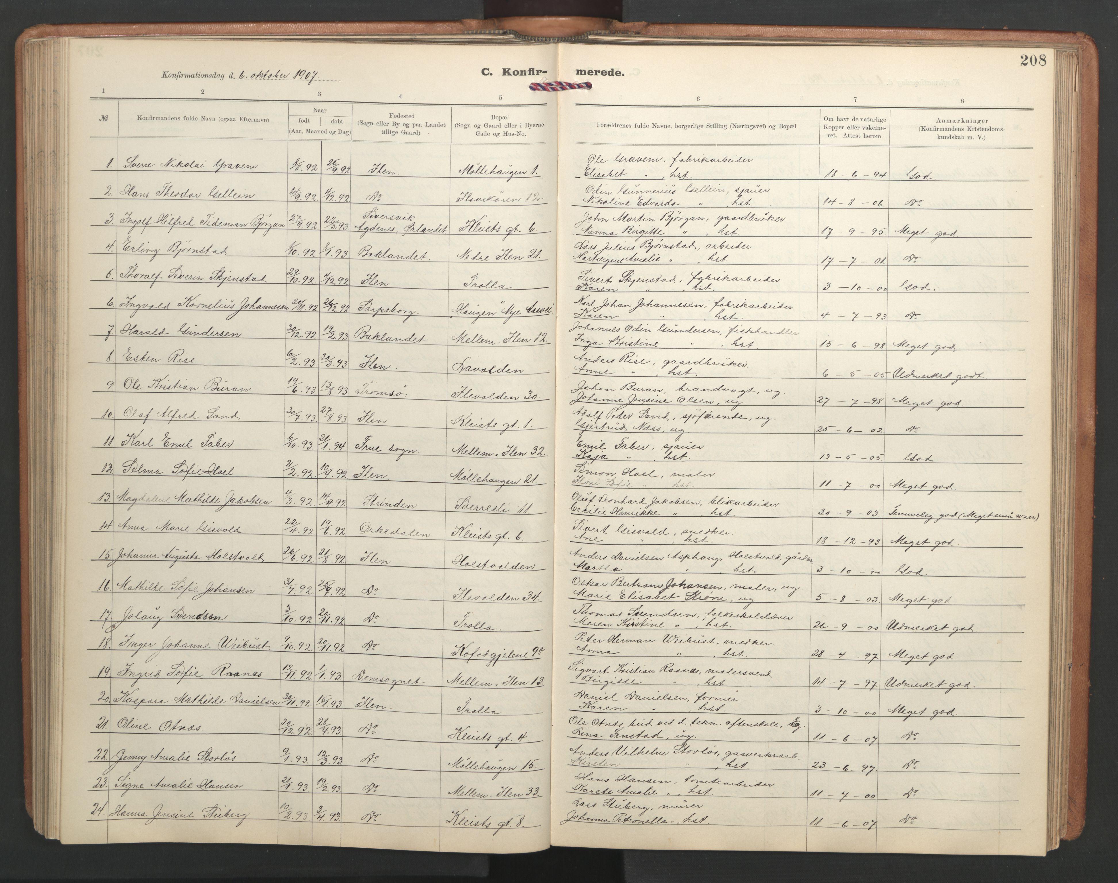 SAT, Ministerialprotokoller, klokkerbøker og fødselsregistre - Sør-Trøndelag, 603/L0173: Klokkerbok nr. 603C01, 1907-1962, s. 208
