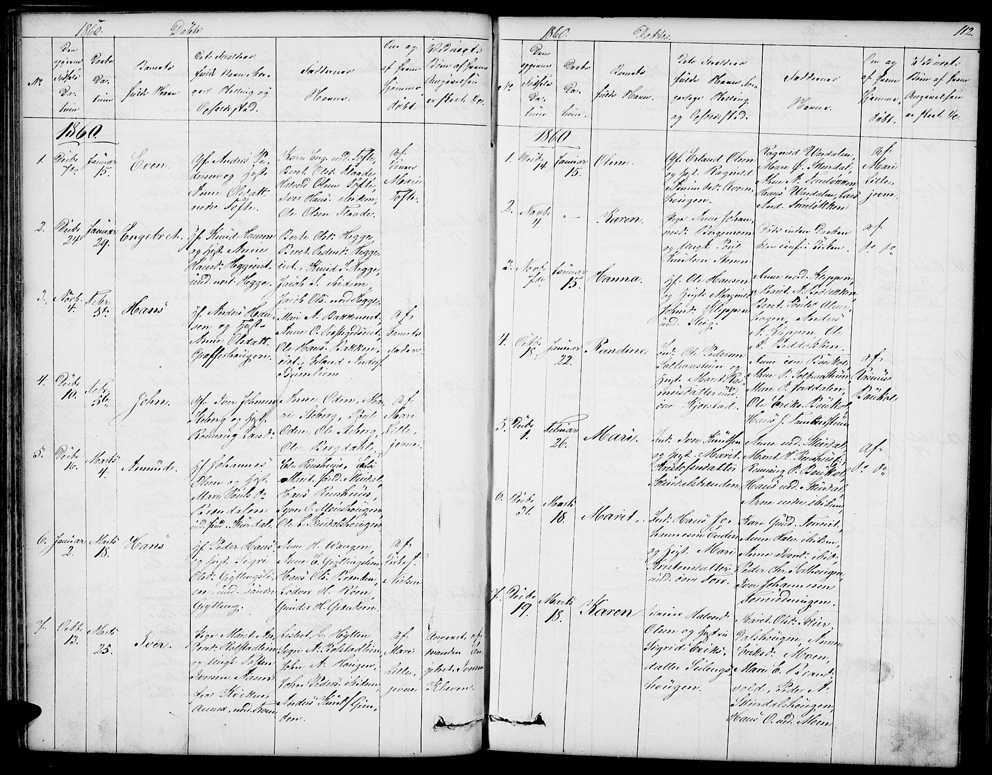 SAH, Sør-Fron prestekontor, H/Ha/Hab/L0001: Klokkerbok nr. 1, 1844-1863, s. 112