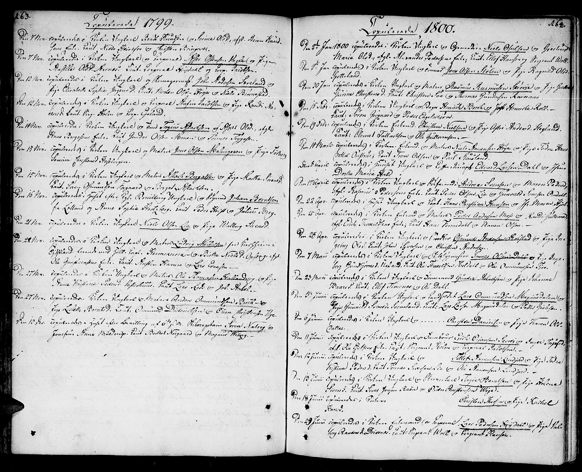 SAK, Kristiansand domprosti, F/Fa/L0005: Ministerialbok nr. A 5, 1776-1818, s. 163-164