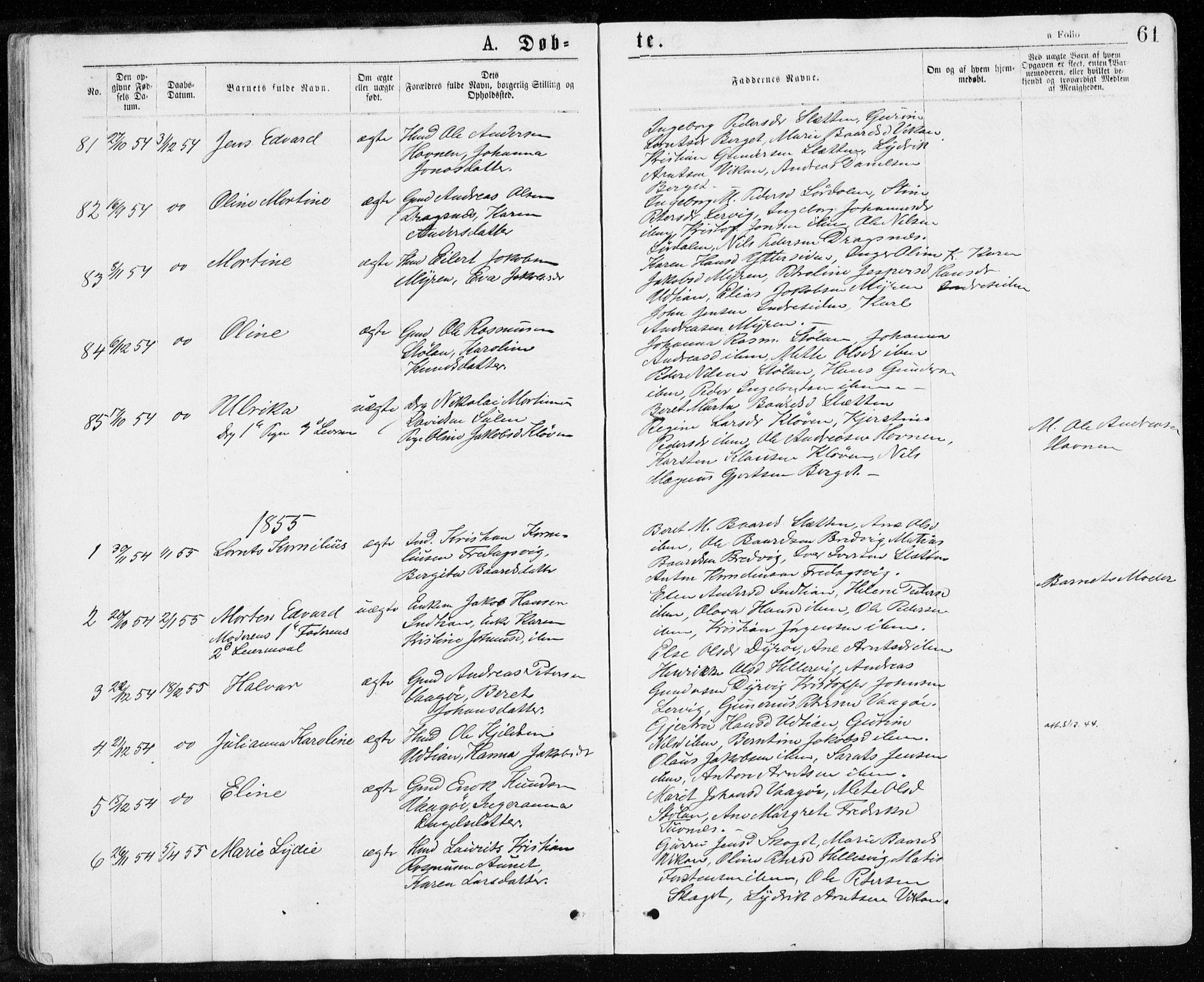 SAT, Ministerialprotokoller, klokkerbøker og fødselsregistre - Sør-Trøndelag, 640/L0576: Ministerialbok nr. 640A01, 1846-1876, s. 61