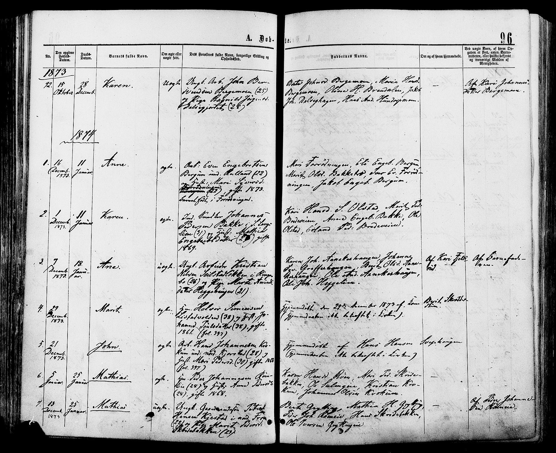 SAH, Sør-Fron prestekontor, H/Ha/Haa/L0002: Ministerialbok nr. 2, 1864-1880, s. 96