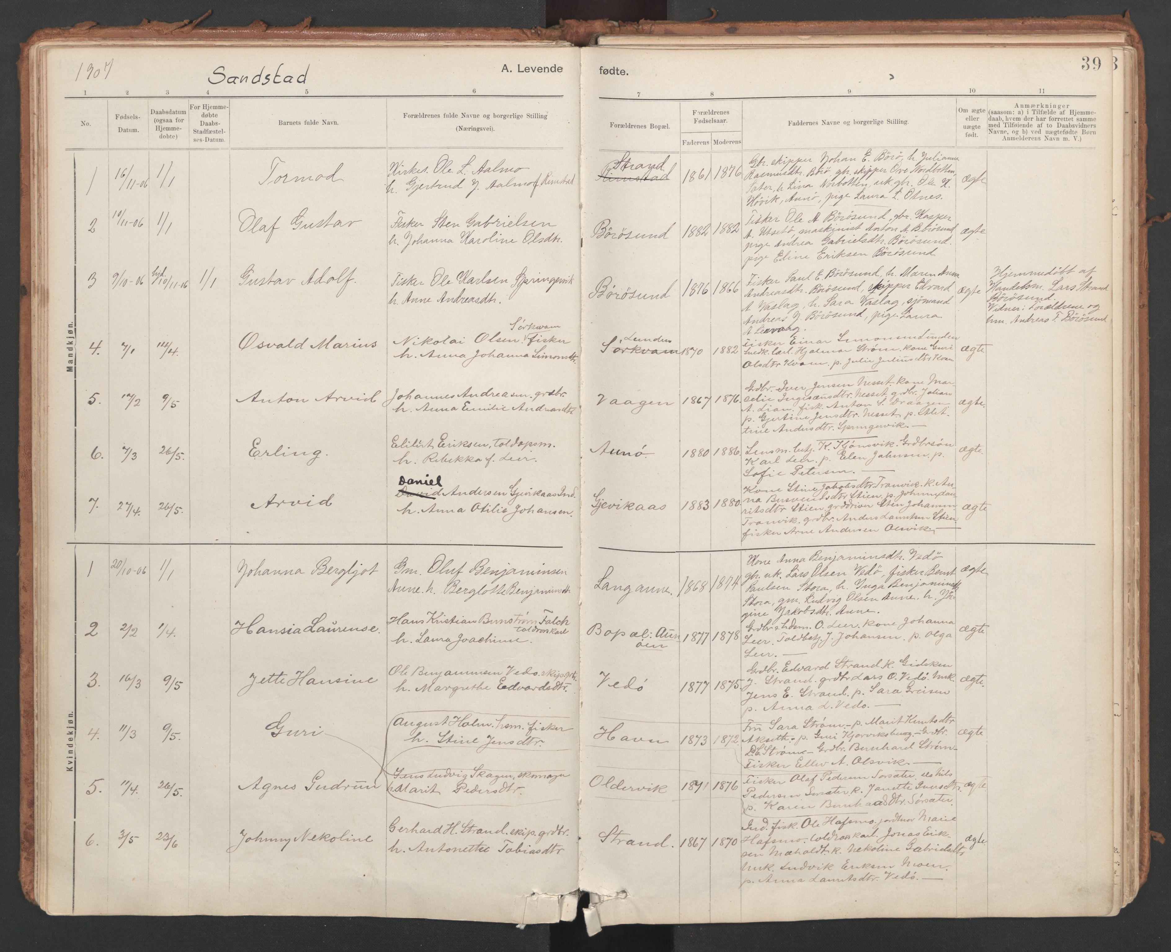 SAT, Ministerialprotokoller, klokkerbøker og fødselsregistre - Sør-Trøndelag, 639/L0572: Ministerialbok nr. 639A01, 1890-1920, s. 39
