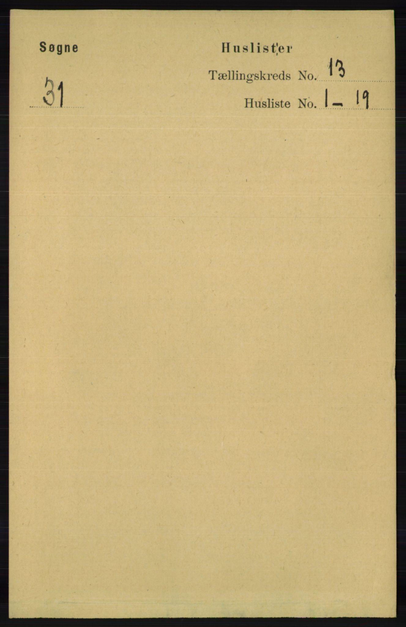 RA, Folketelling 1891 for 1018 Søgne herred, 1891, s. 3190