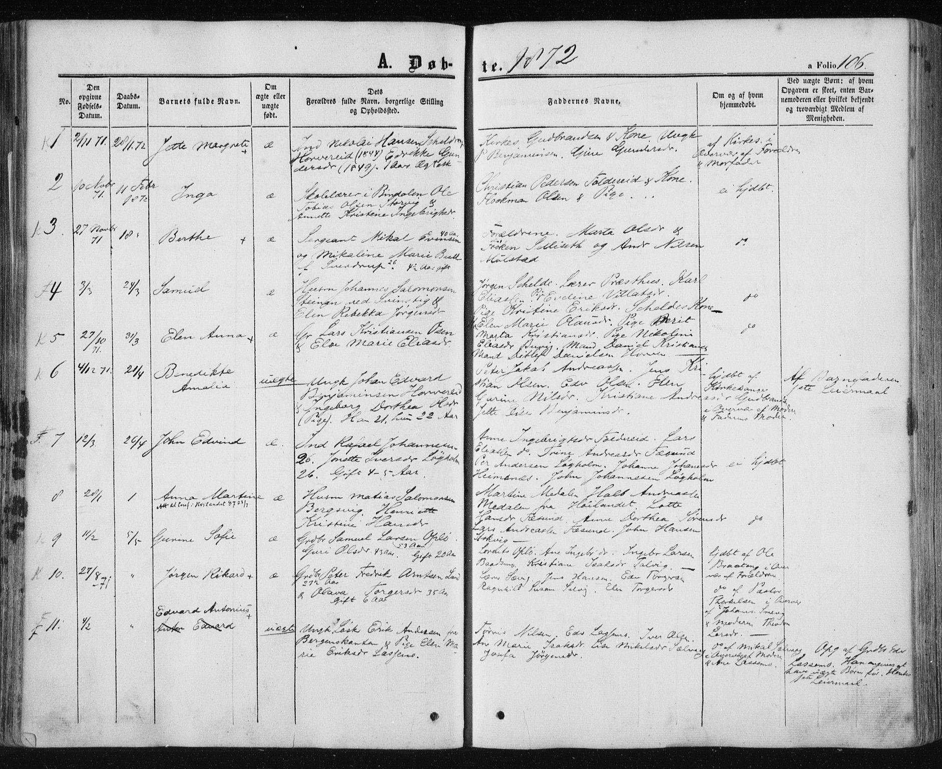 SAT, Ministerialprotokoller, klokkerbøker og fødselsregistre - Nord-Trøndelag, 780/L0641: Ministerialbok nr. 780A06, 1857-1874, s. 106