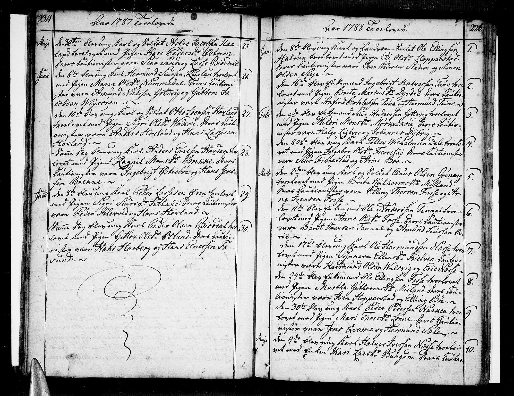 SAB, Vik Sokneprestembete, Ministerialbok nr. A 5, 1787-1820, s. 224-225