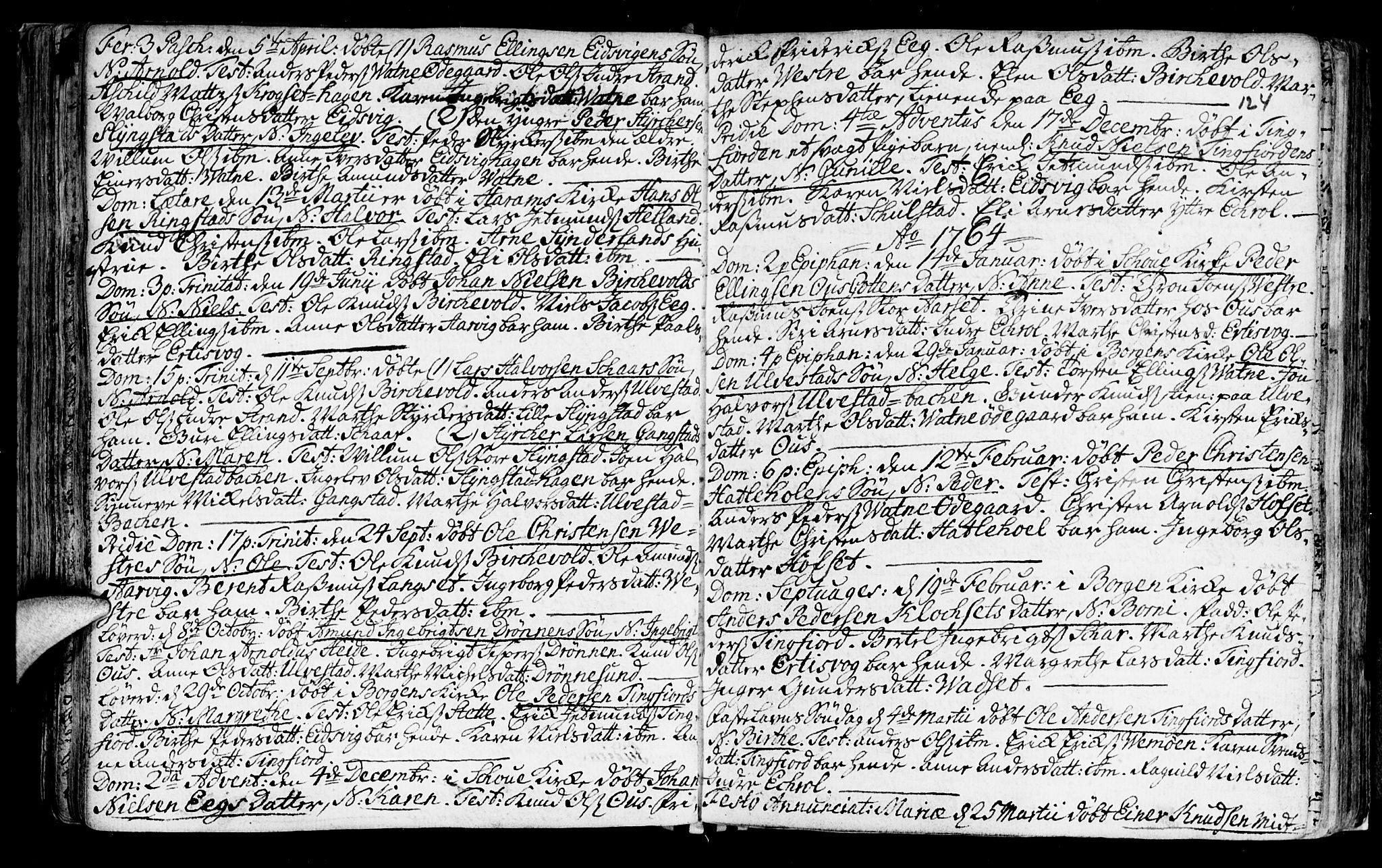SAT, Ministerialprotokoller, klokkerbøker og fødselsregistre - Møre og Romsdal, 525/L0371: Ministerialbok nr. 525A01, 1699-1777, s. 124