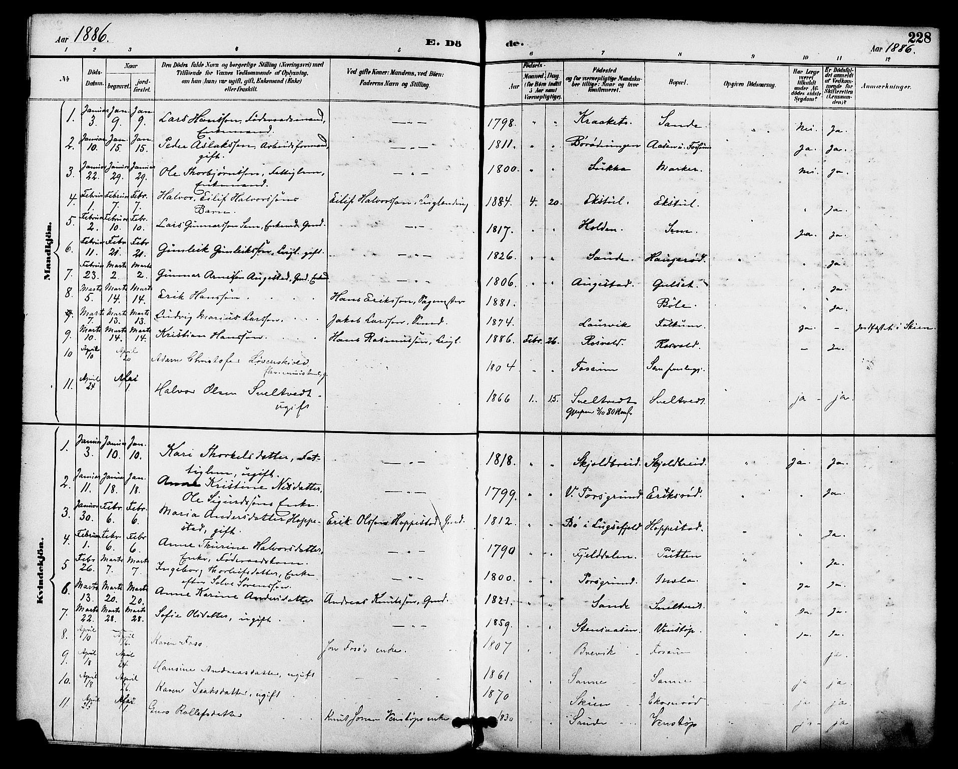 SAKO, Gjerpen kirkebøker, F/Fa/L0010: Ministerialbok nr. 10, 1886-1895, s. 228