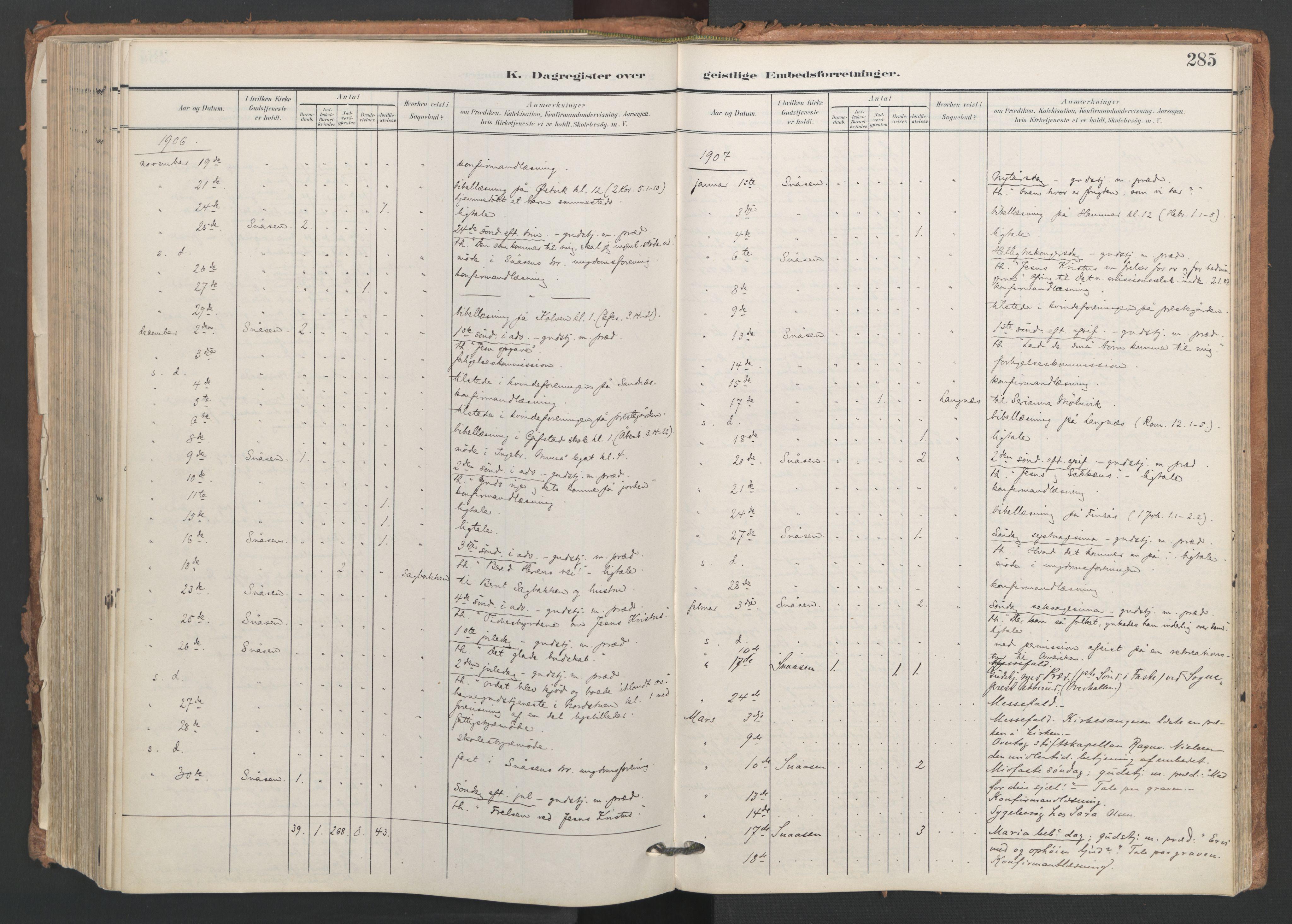 SAT, Ministerialprotokoller, klokkerbøker og fødselsregistre - Nord-Trøndelag, 749/L0477: Ministerialbok nr. 749A11, 1902-1927, s. 285