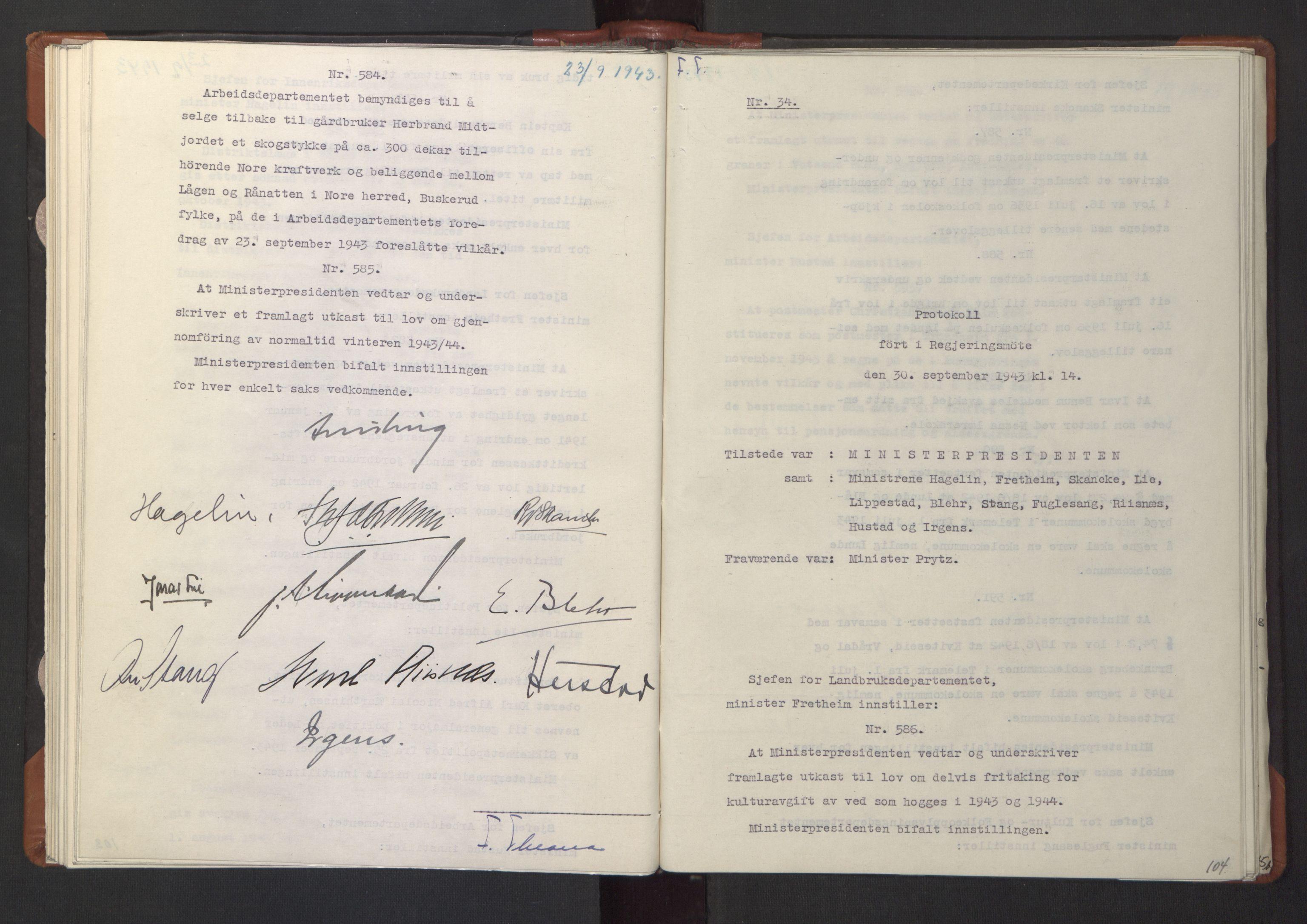 RA, NS-administrasjonen 1940-1945 (Statsrådsekretariatet, de kommisariske statsråder mm), D/Da/L0003: Vedtak (Beslutninger) nr. 1-746 og tillegg nr. 1-47 (RA. j.nr. 1394/1944, tilgangsnr. 8/1944, 1943, s. 103b-104a
