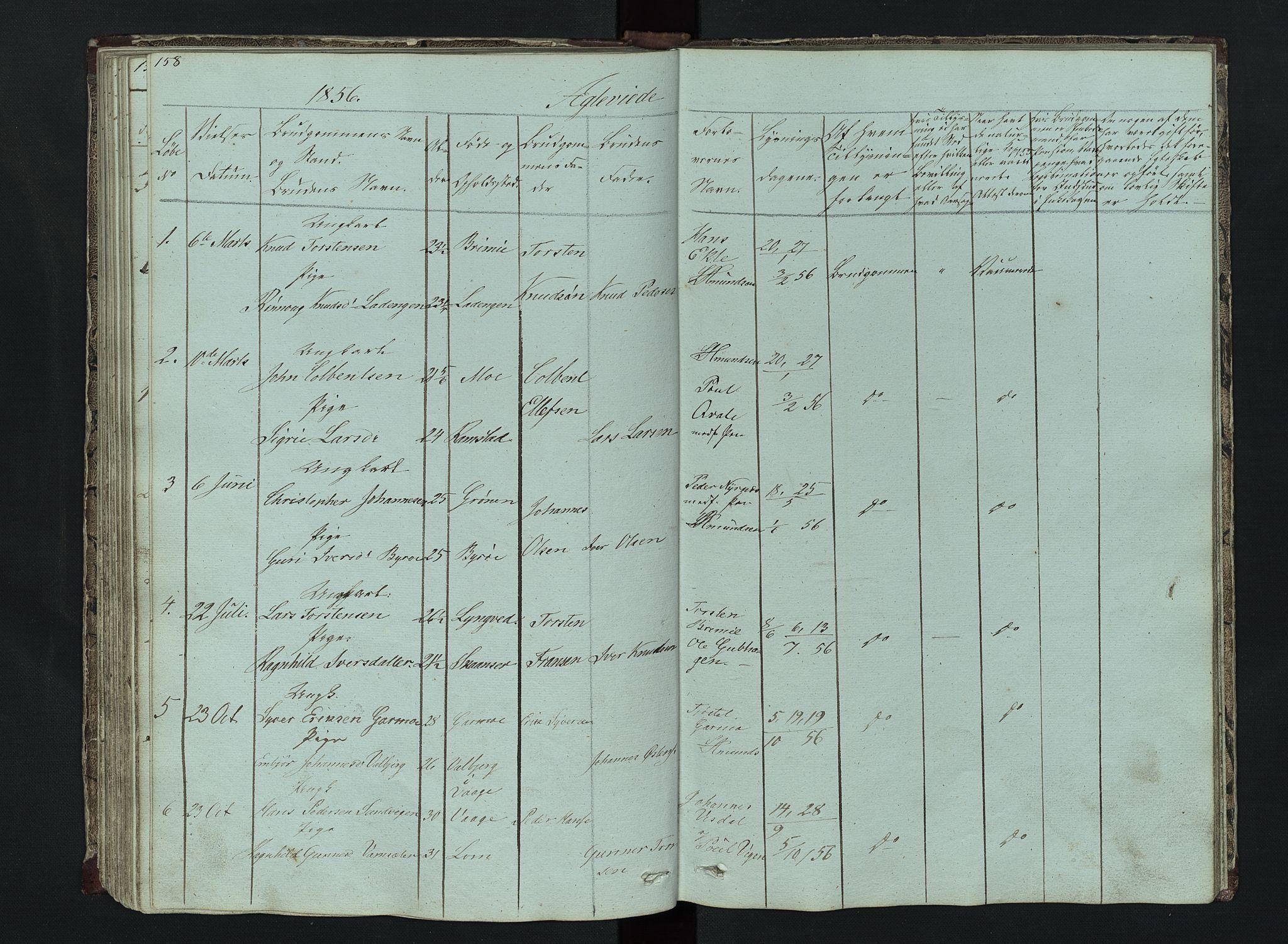 SAH, Lom prestekontor, L/L0014: Klokkerbok nr. 14, 1845-1876, s. 158-159