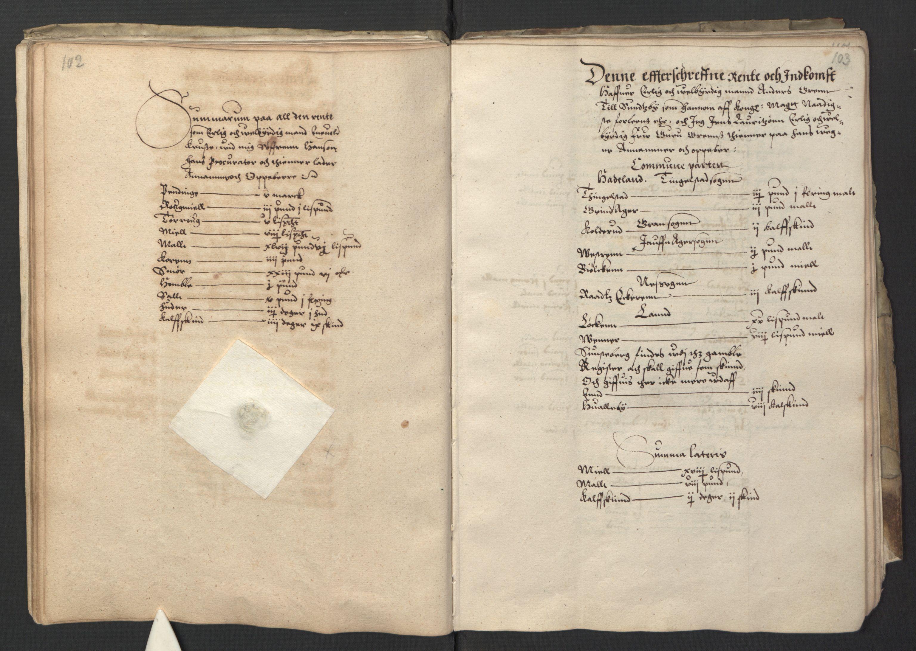 RA, Stattholderembetet 1572-1771, Ek/L0001: Jordebøker før 1624 og til utligning av garnisonsskatt 1624-1626:, 1595, s. 102-103