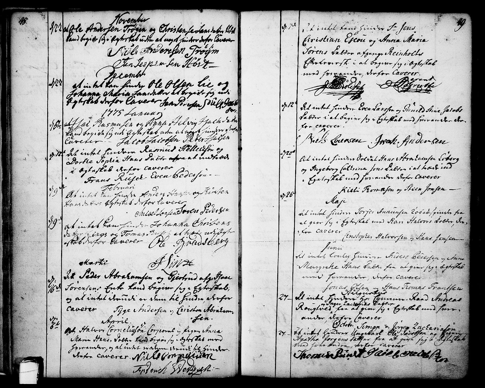 SAKO, Skien kirkebøker, F/Fa/L0003: Ministerialbok nr. 3, 1755-1791, s. 48-49