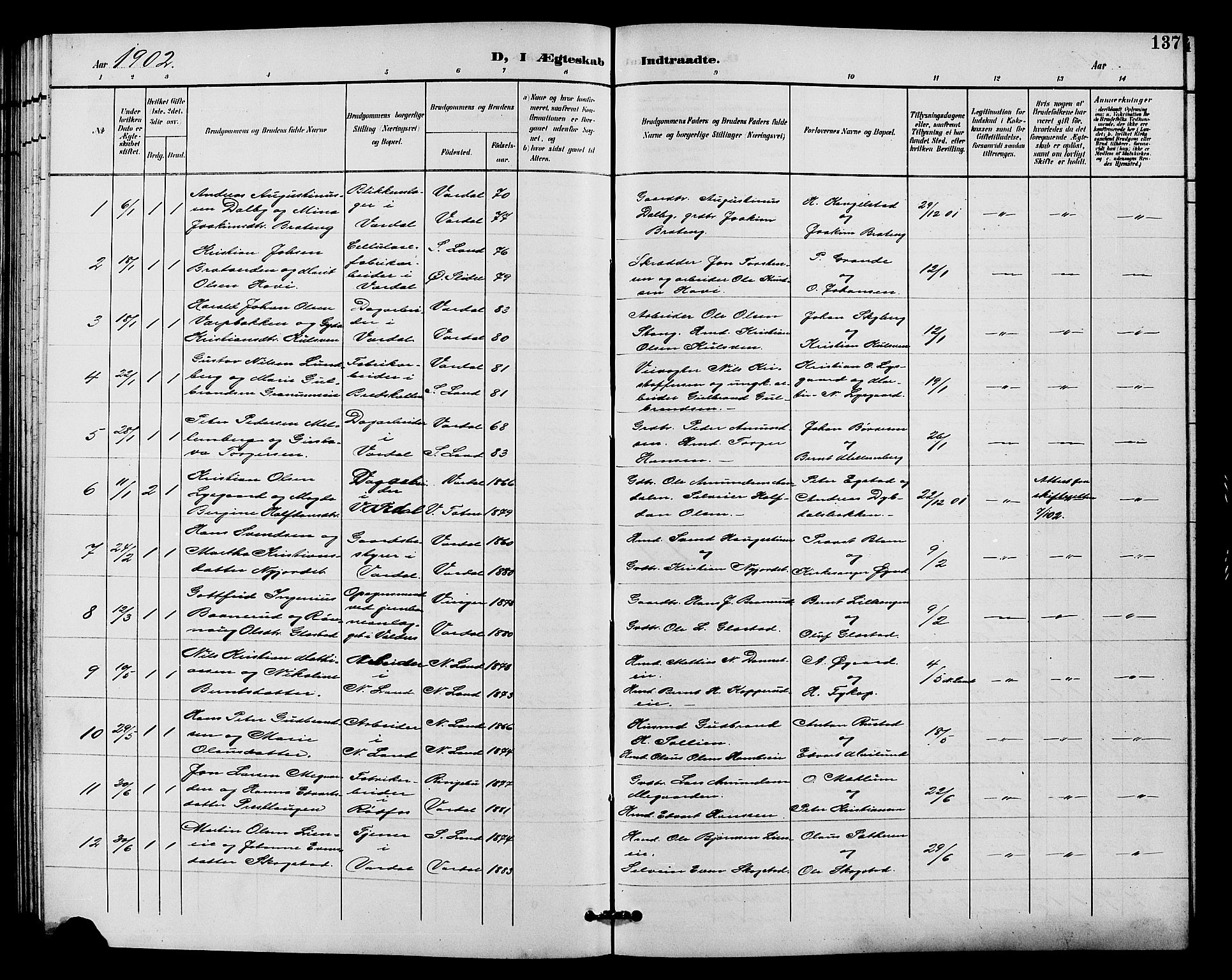 SAH, Vardal prestekontor, H/Ha/Hab/L0011: Klokkerbok nr. 11, 1899-1913, s. 137