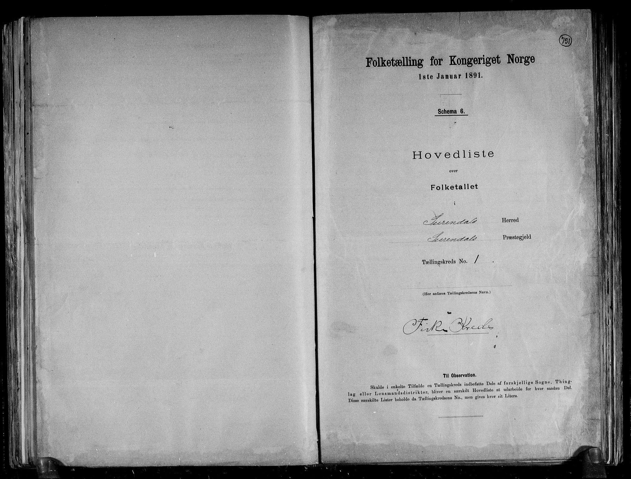 RA, Folketelling 1891 for 1566 Surnadal herred, 1891, s. 4