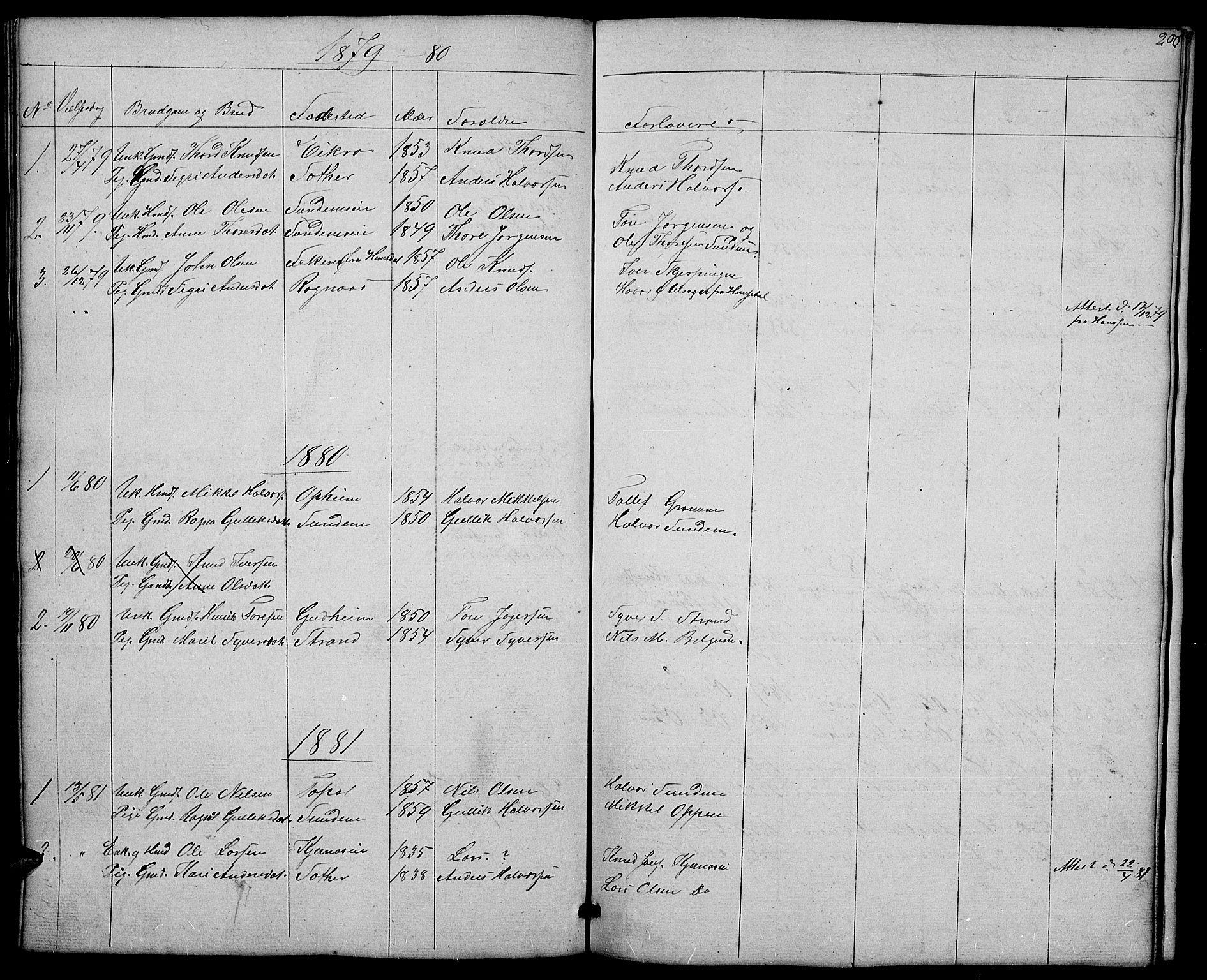 SAH, Nord-Aurdal prestekontor, Klokkerbok nr. 4, 1842-1882, s. 200